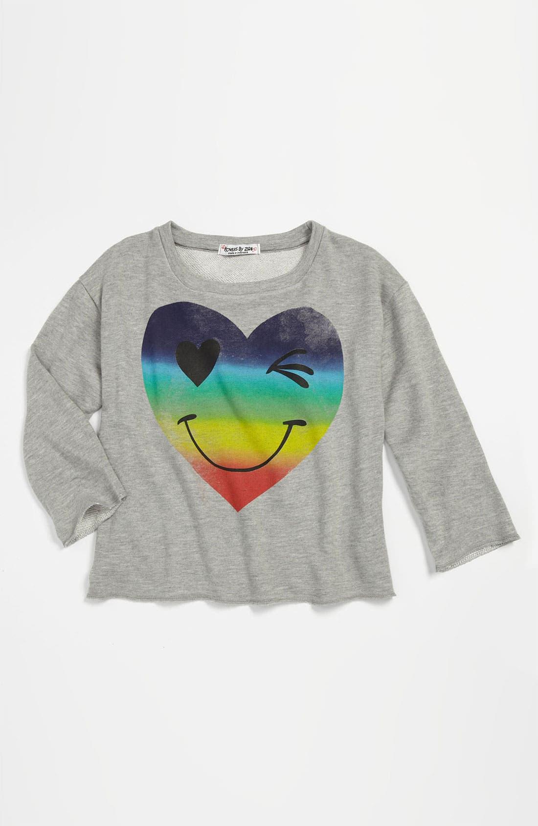 Main Image - Flowers by Zoe 'Smiley Heart' Sweatshirt (Little Girls)
