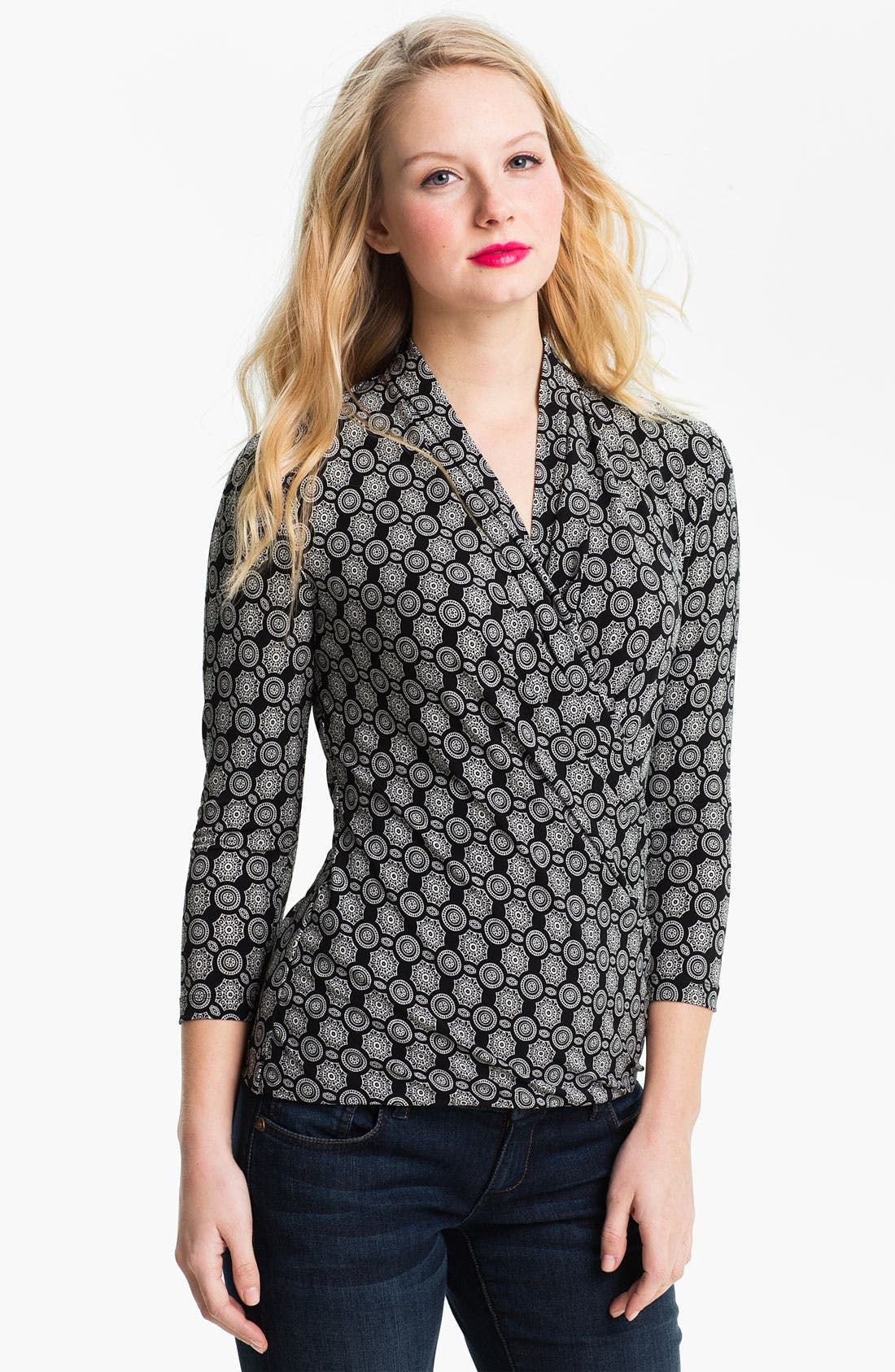 Alternate Image 1 Selected - Vince Camuto 'Lace Medallions' Faux Wrap Top