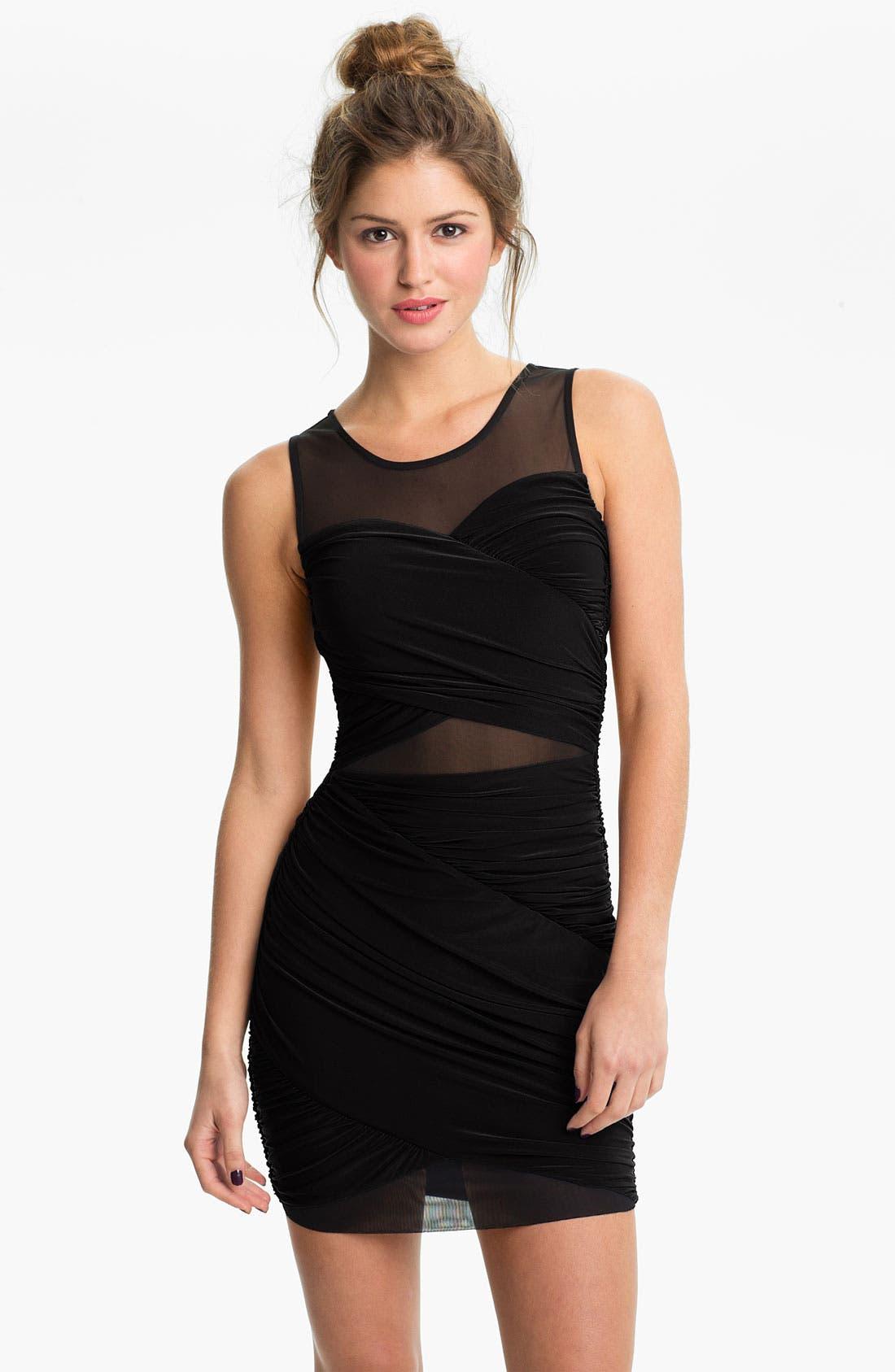 Main Image - Soprano Mesh Panel Draped Body-Con Dress (Juniors)