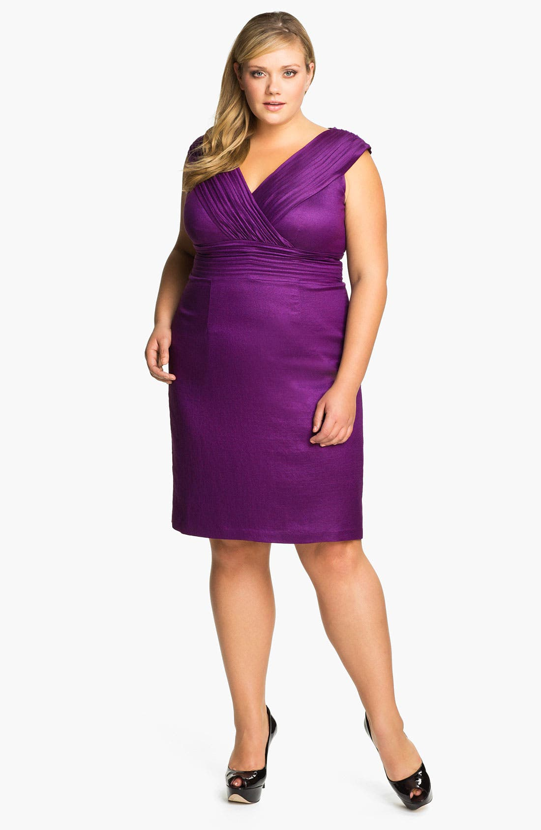 Main Image - Adrianna Papell Shimmer Surplice Sheath Dress (Plus)