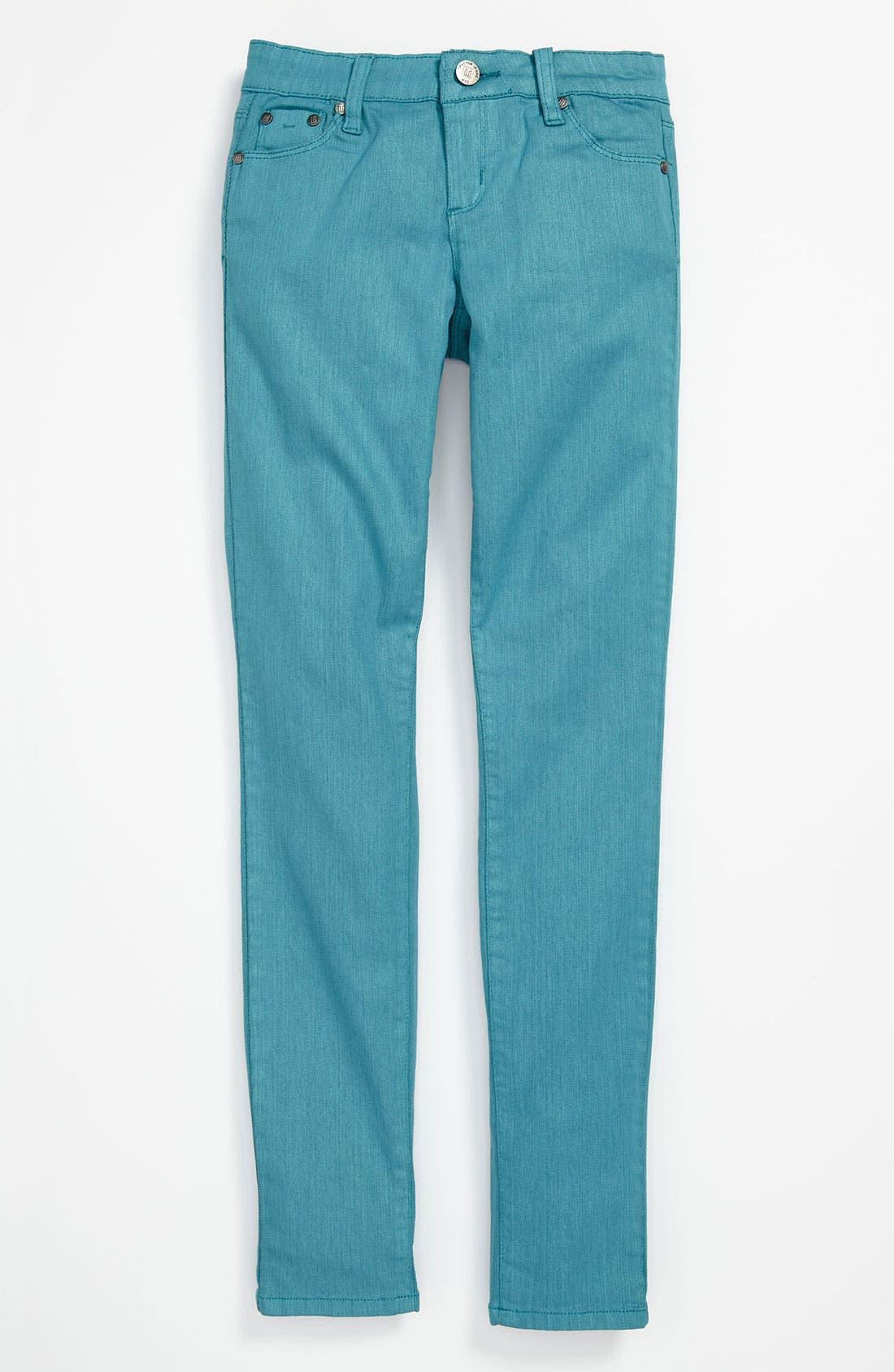 Alternate Image 2  - Tractr Coated Denim Skinny Leg Jeans (Big Girls)