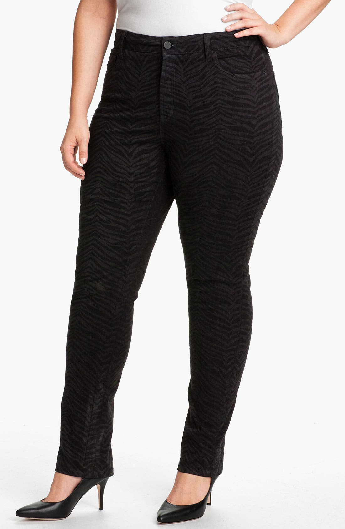 Alternate Image 1 Selected - NYDJ 'Sheri - Zebra' Print Twill Slim Jeans (Plus)