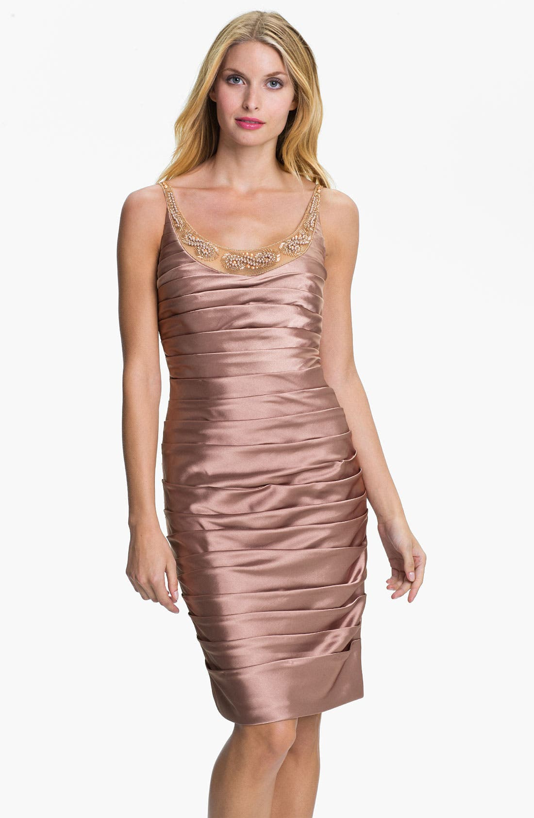 Alternate Image 1 Selected - Adrianna Papell Reverse Pleat Satin Sheath Dress & Bolero (Petite)