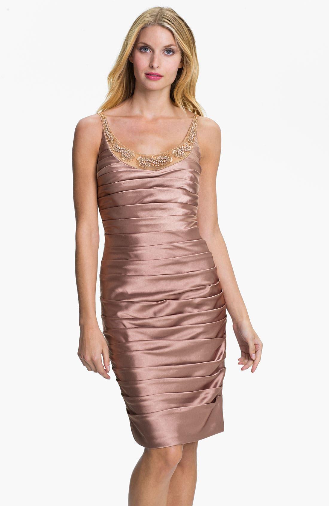 Main Image - Adrianna Papell Reverse Pleat Satin Sheath Dress & Bolero (Petite)