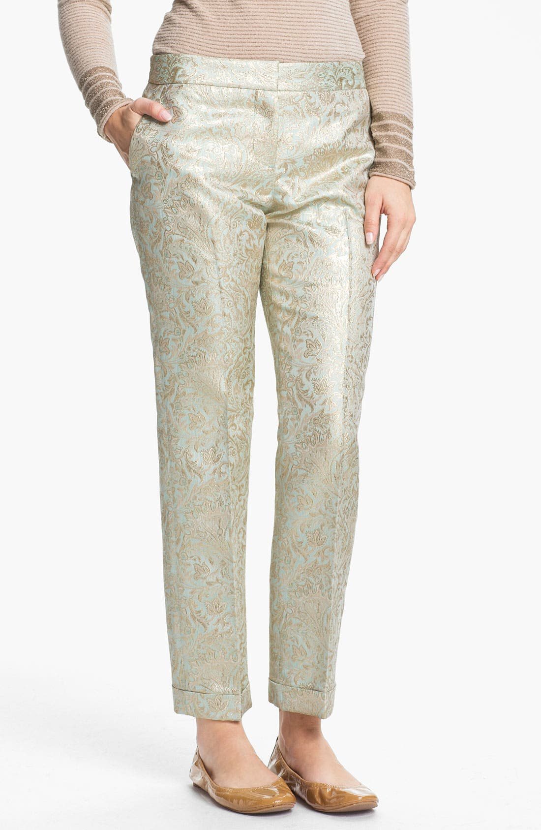 Alternate Image 1 Selected - Tory Burch 'Lola' Metallic Silk Pants