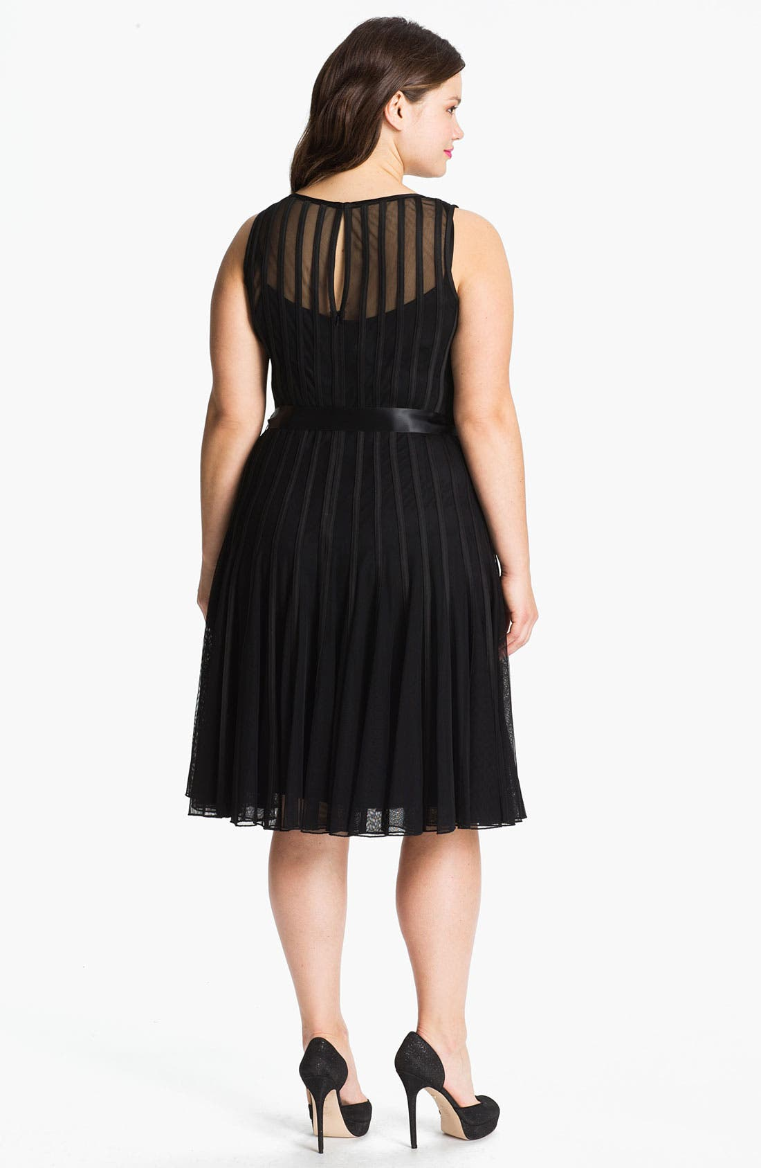 Alternate Image 2  - Xscape Sleeveless Satin Stripe Mesh Dress (Plus Size)