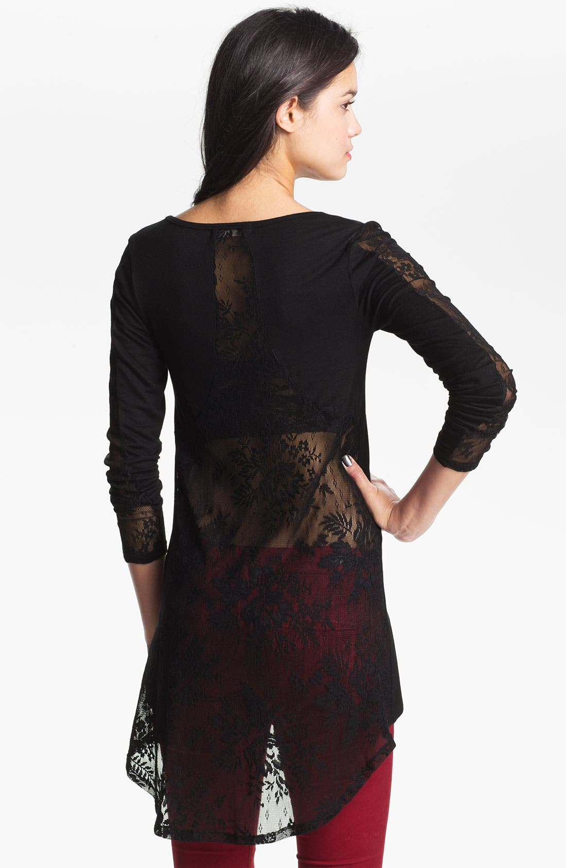 Alternate Image 2  - Painted Threads Lace Panel High/Low Tunic (Juniors)