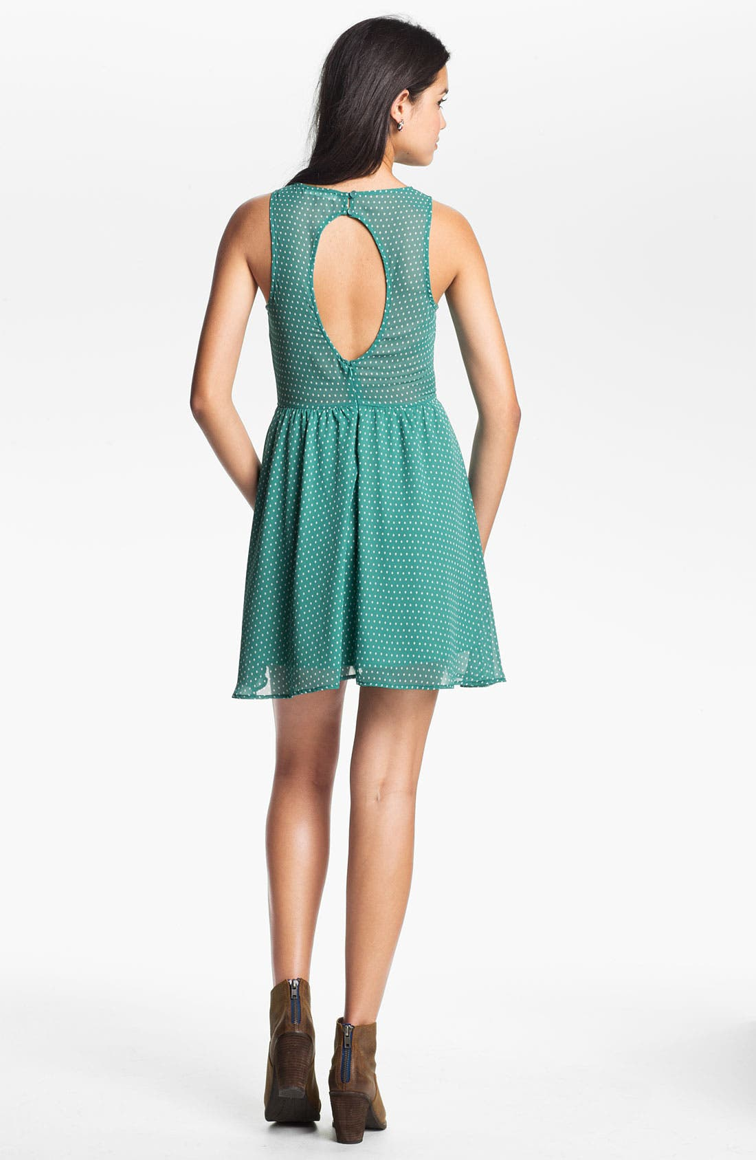 Main Image - Lush Cutout Back Skater Dress (Juniors)