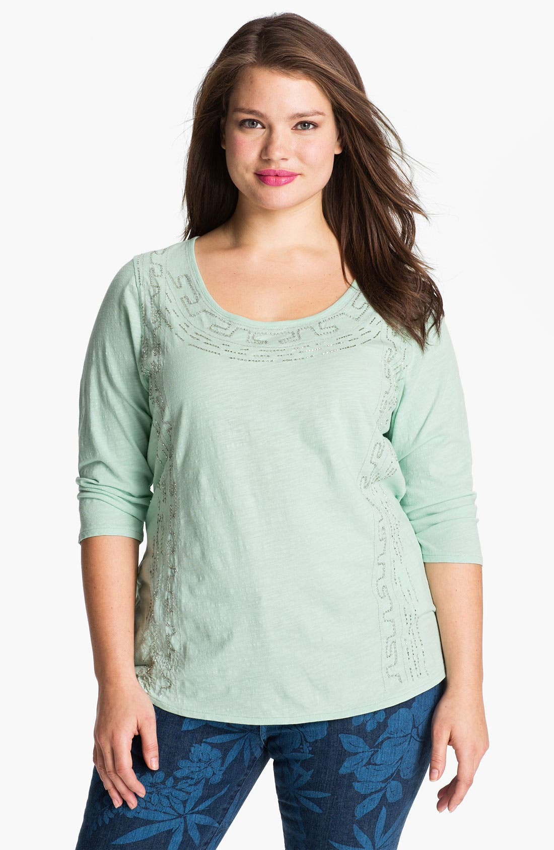 Alternate Image 1 Selected - Lucky Brand Beaded Deco Border Tee (Plus)
