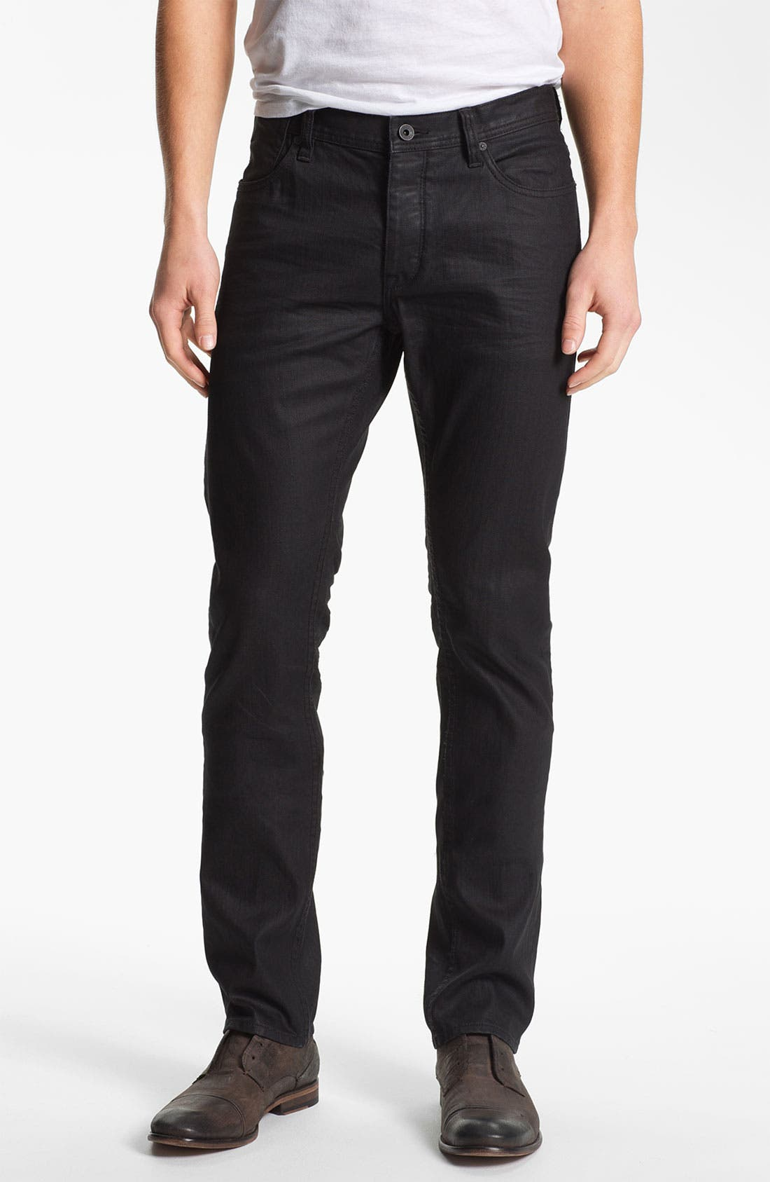 Main Image - John Varvatos Star USA 'Bowery' Slim Straight Leg Jeans (Jet Black)