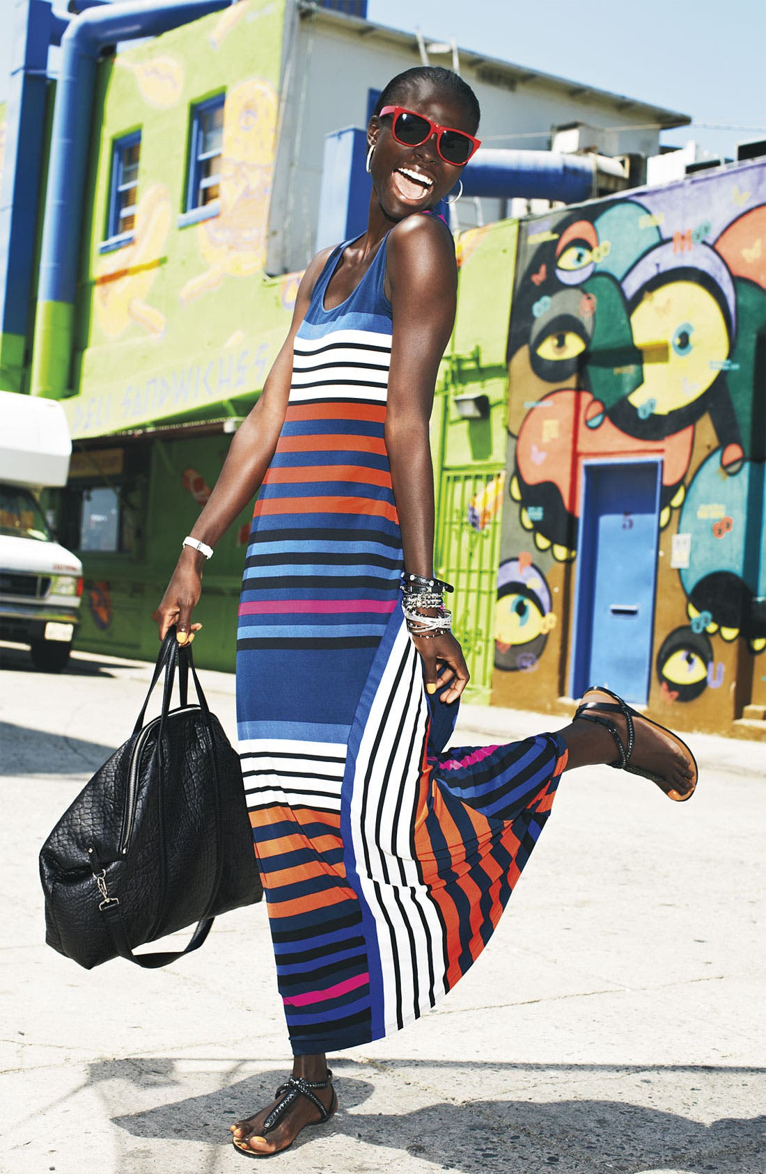 Alternate Image 3  - Calvin Klein Multi Stripe Tank Maxi Dress