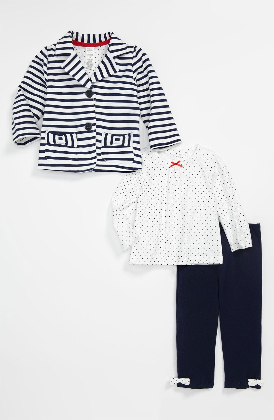 Alternate Image 1 Selected - Little Me Stripe Jacket, Top & Leggings (Infant)