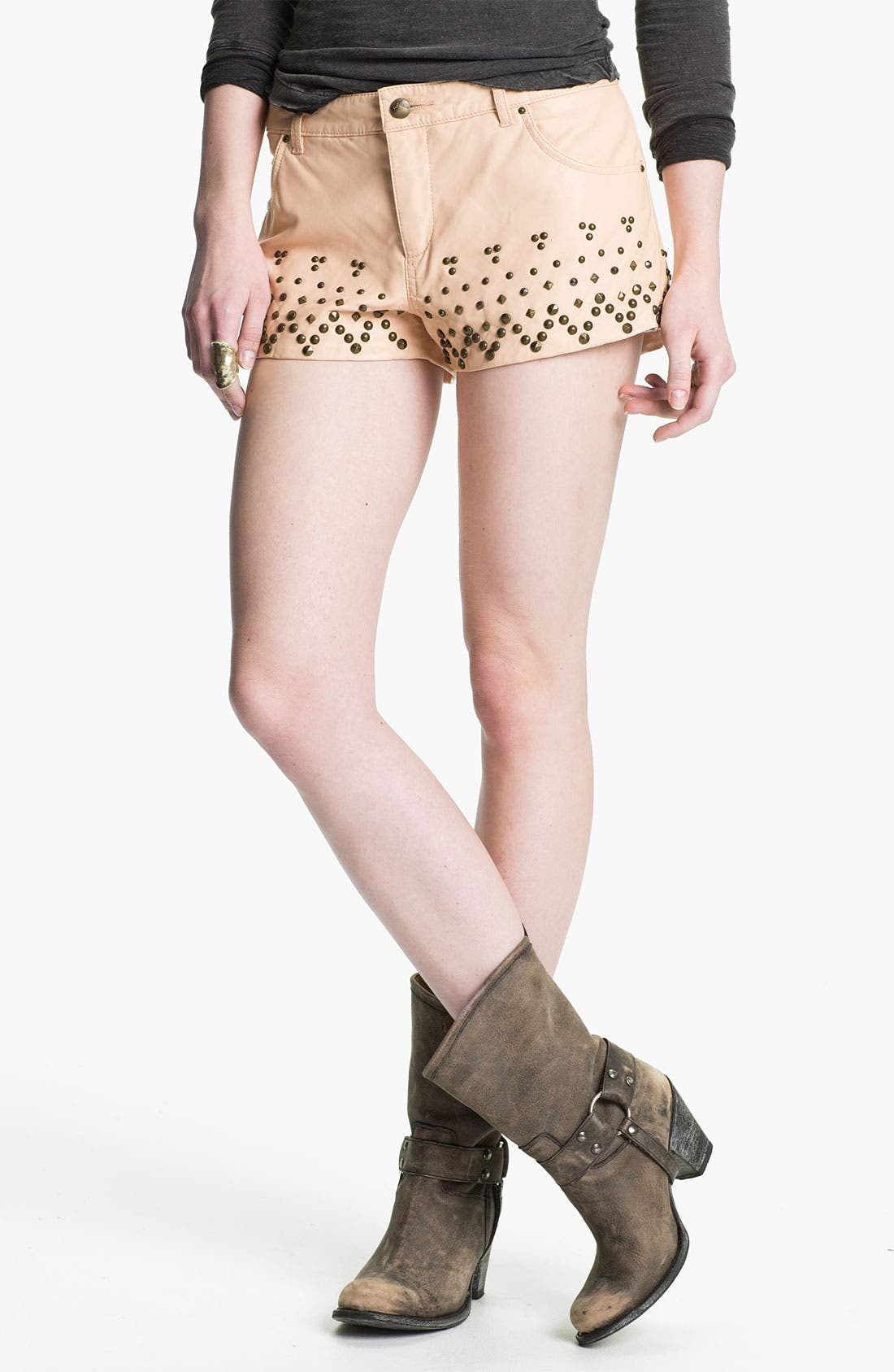 Main Image - Free People Studded Faux Leather Shorts