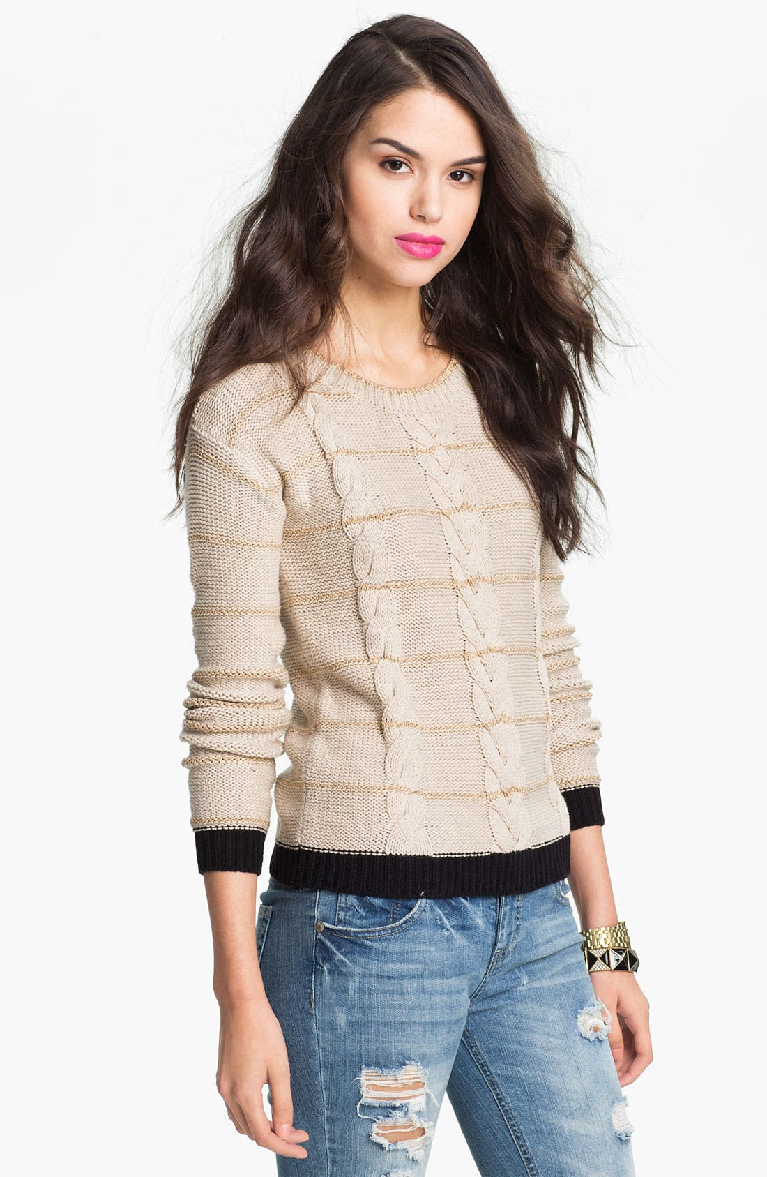 Alternate Image 1 Selected - Love by Design Metallic Stripe Cable Sweater (Juniors)