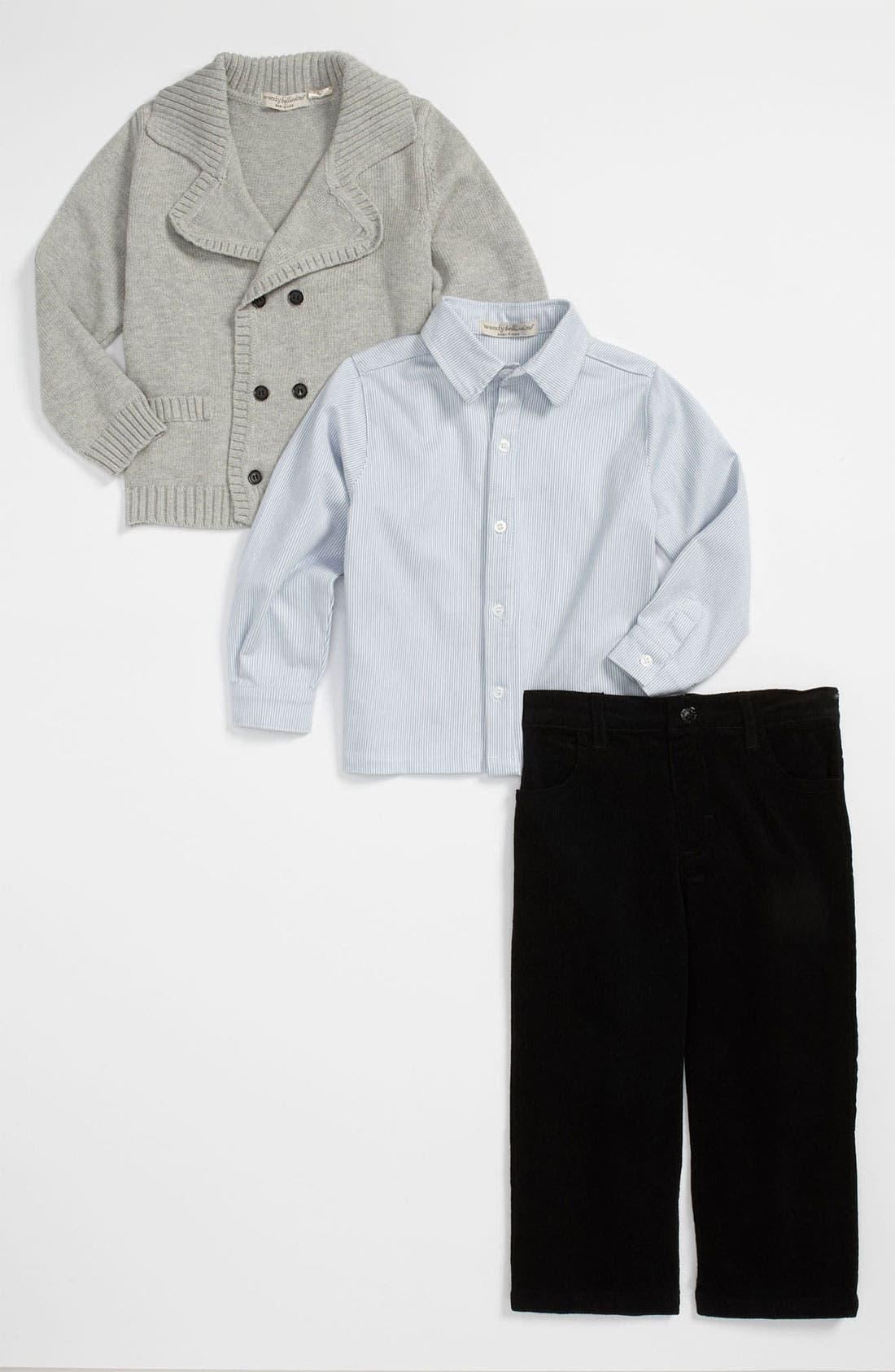 Main Image - Wendy Bellissimo Cardigan, Shirt & Pants Set (Infant)
