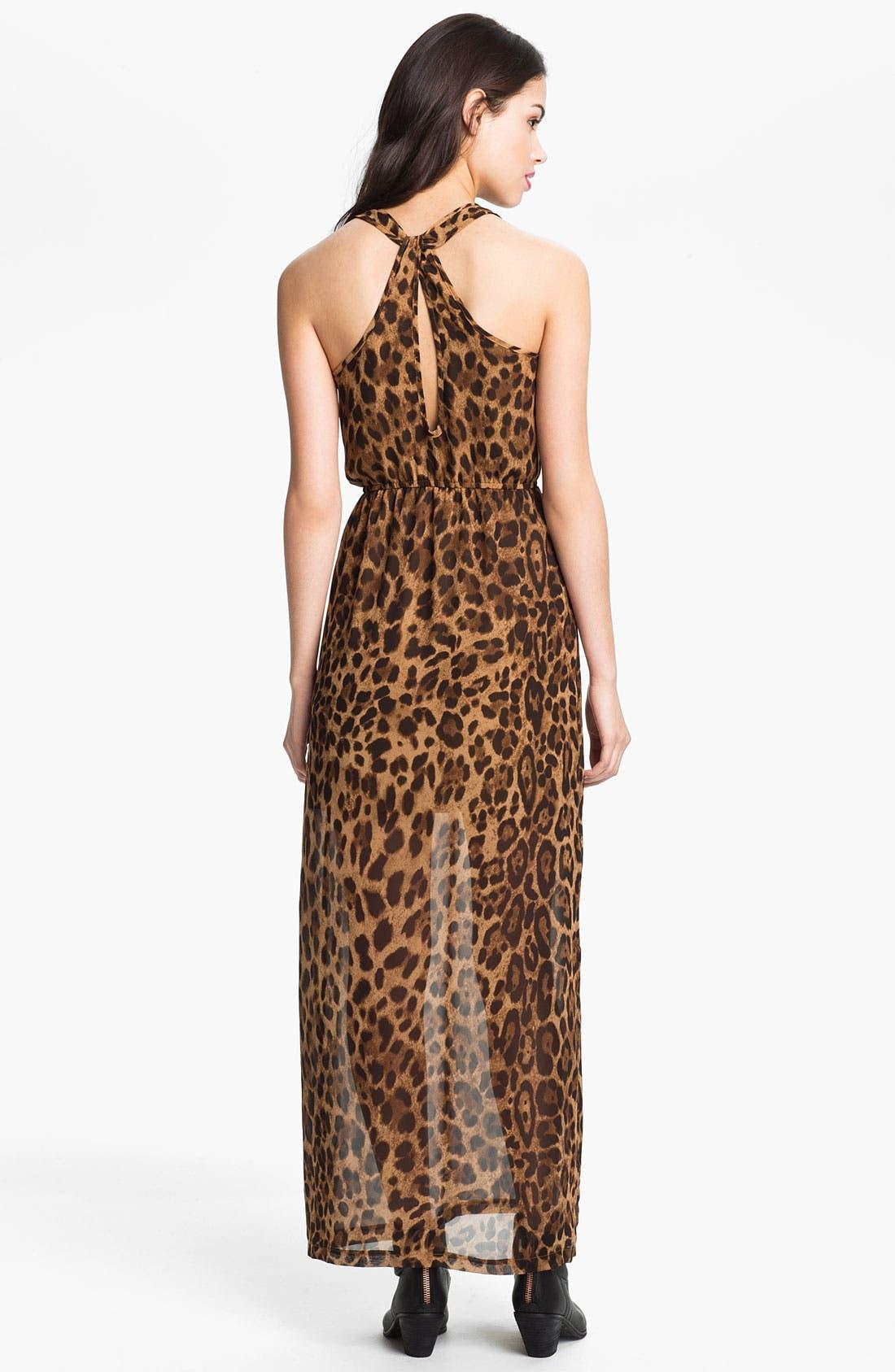 Alternate Image 2  - dee elle Keyhole Back Print Chiffon Maxi Dress (Juniors)