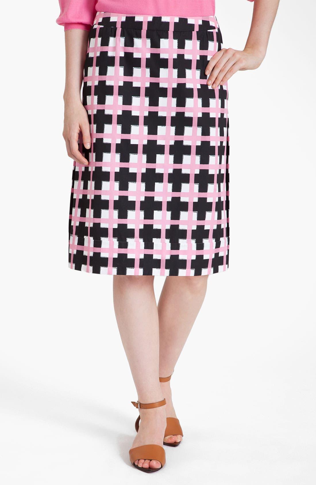 Main Image - Marni Grid Print Taffeta Pencil Skirt