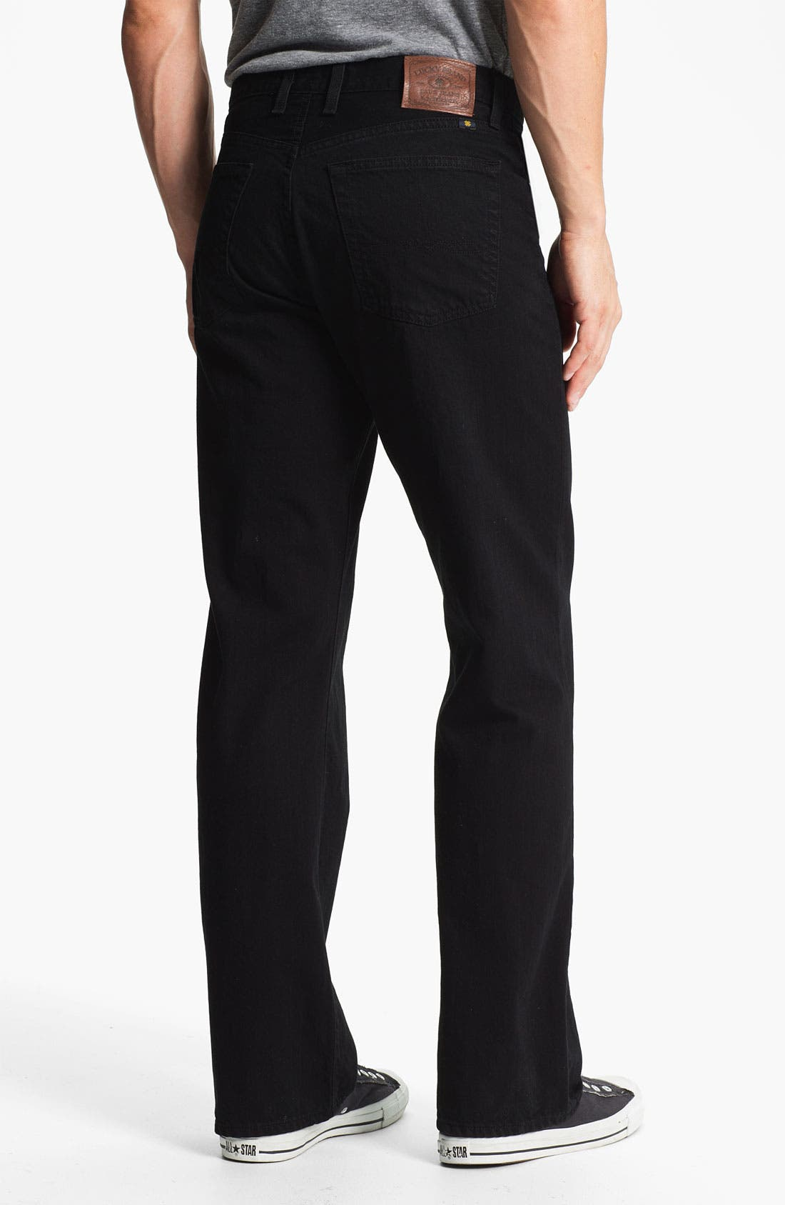 Alternate Image 2  - Lucky Brand '184' Relaxed Straight Leg Jeans (Jet Black)