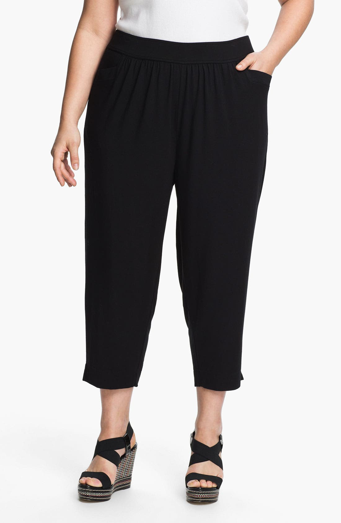 Alternate Image 1 Selected - Sejour Jersey Knit Crop Pants (Plus Size)
