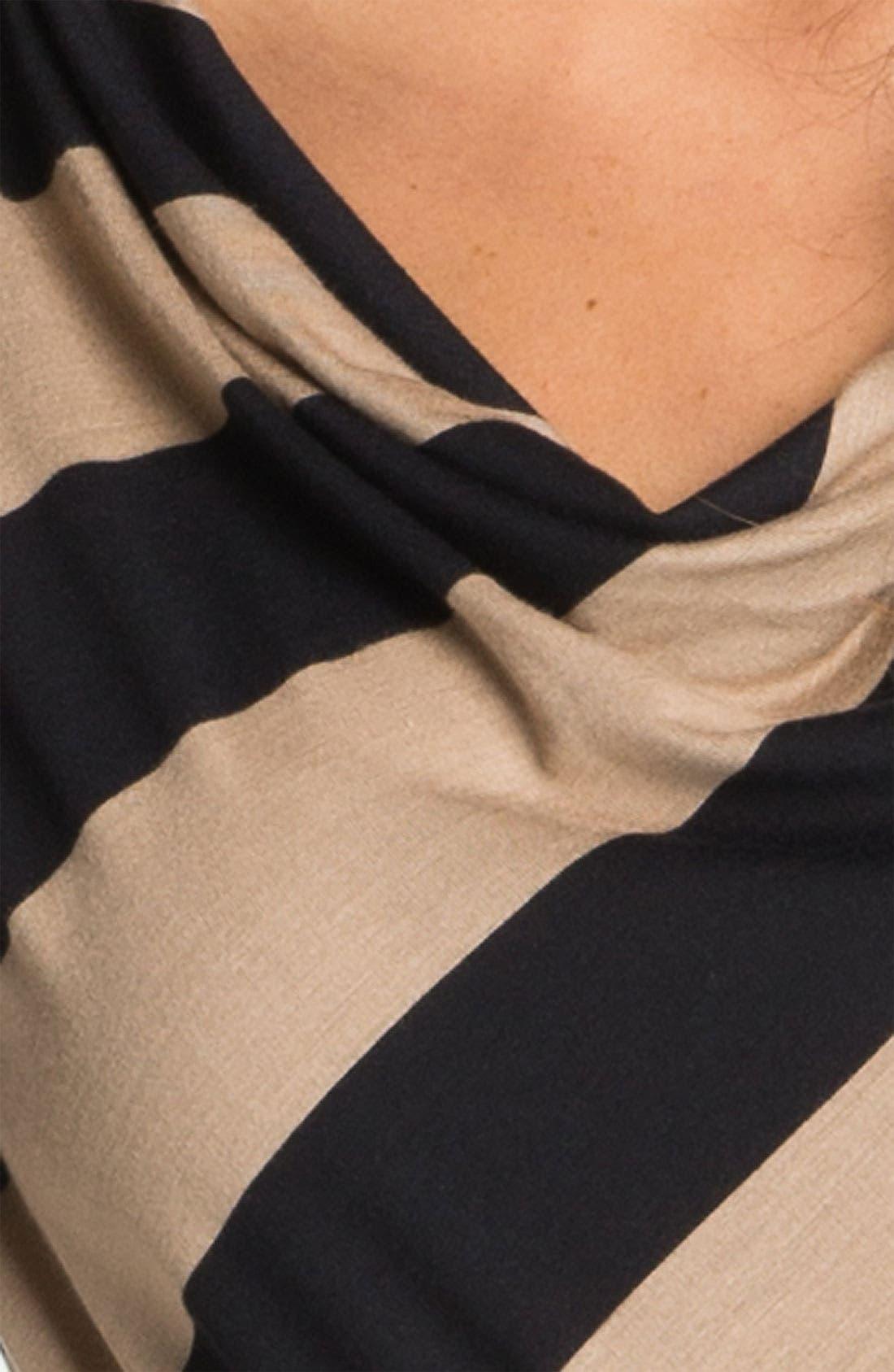 Alternate Image 3  - Bobeau Drape Neck Stripe Maxi Dress