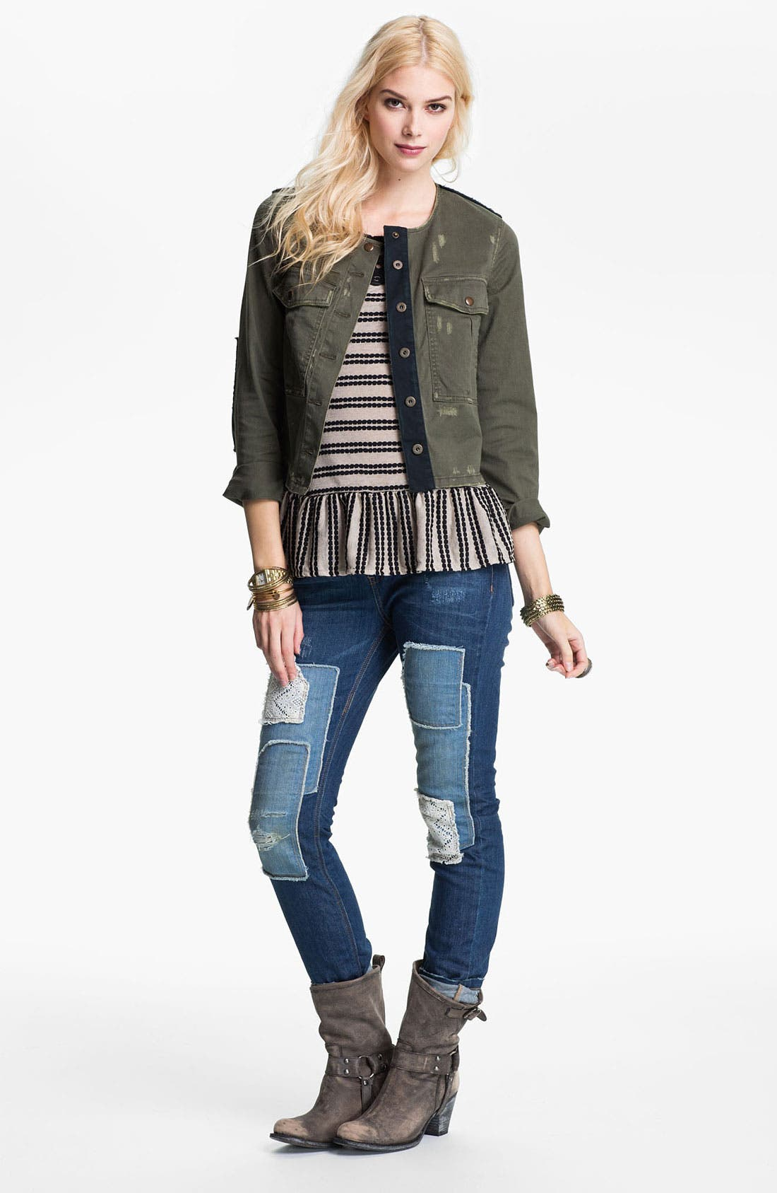 Main Image - Free People Jacket, Top & Jeans