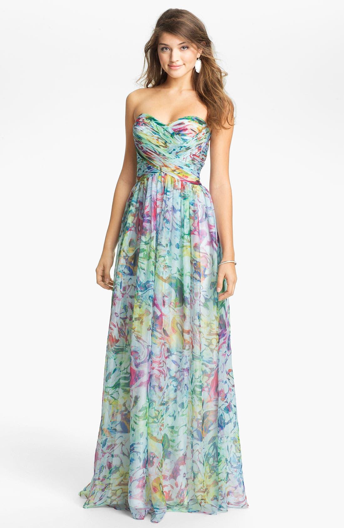 Main Image - La Femme Print Strapless Maxi Dress