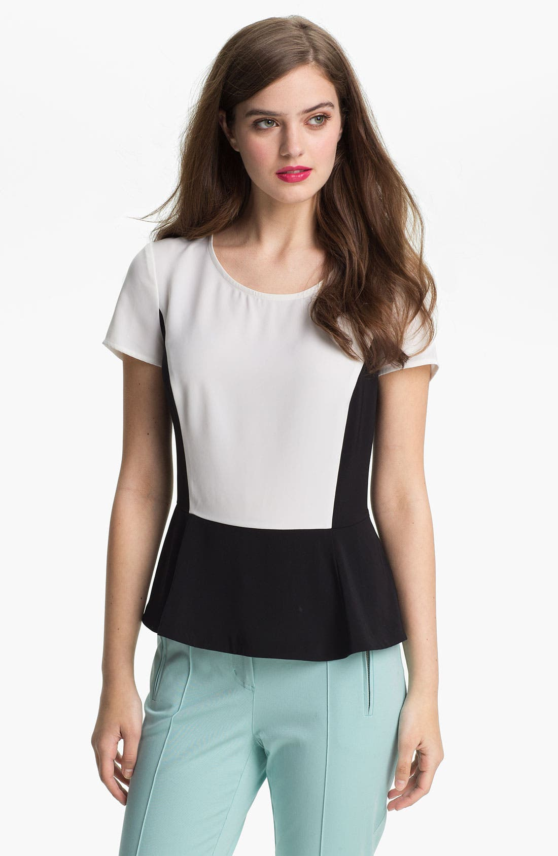 Alternate Image 1 Selected - DKNYC Colorblock Peplum Top