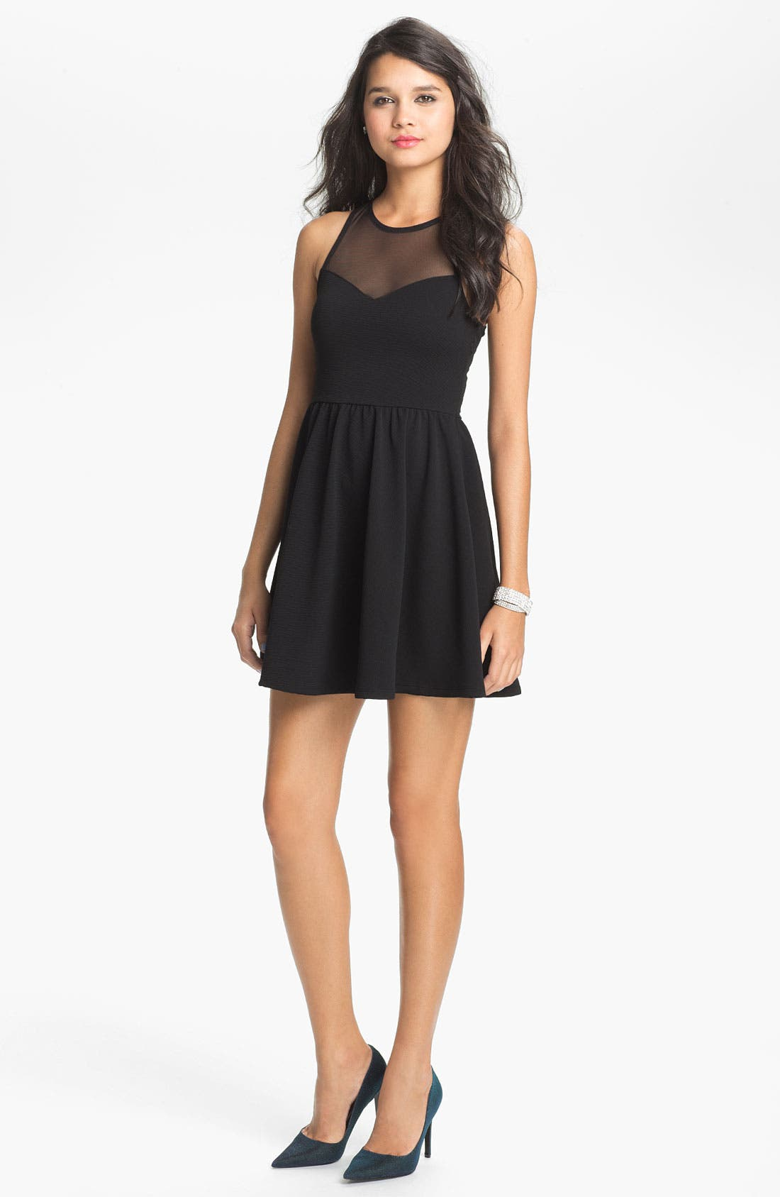 Alternate Image 1 Selected - Lush Illusion Fit & Flare Dress (Juniors)