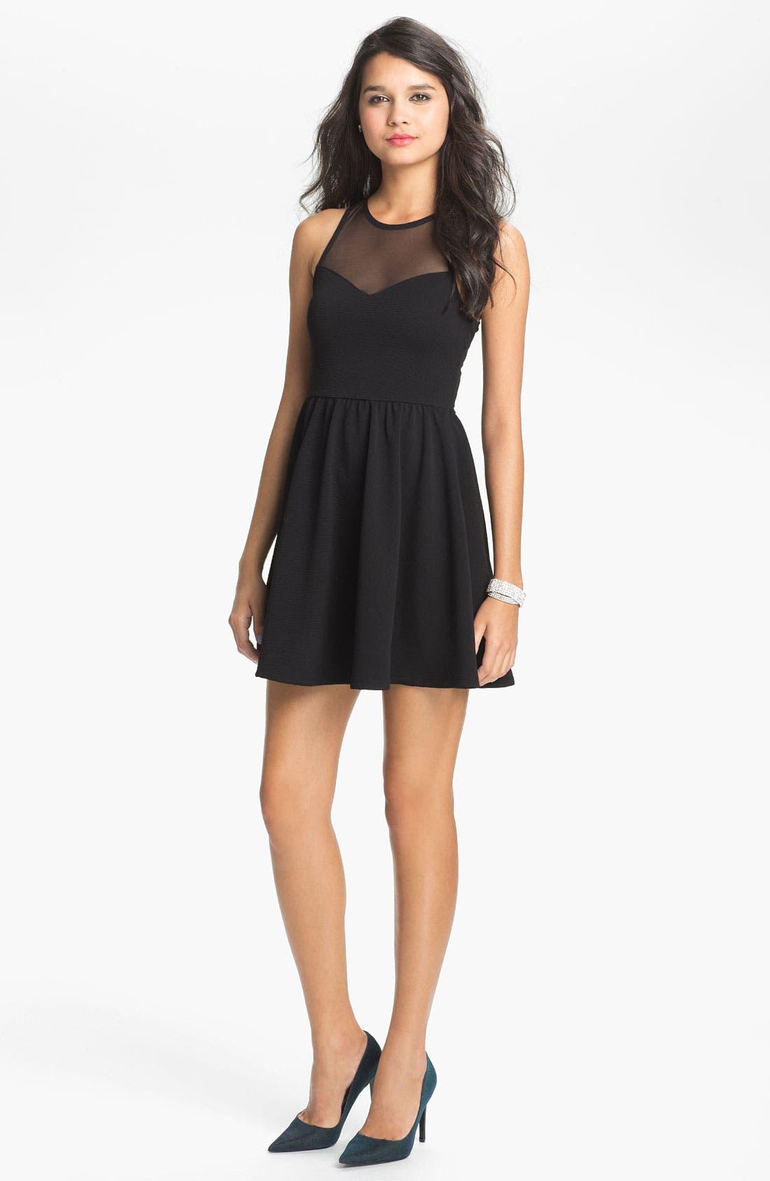 Main Image - Lush Illusion Fit & Flare Dress (Juniors)