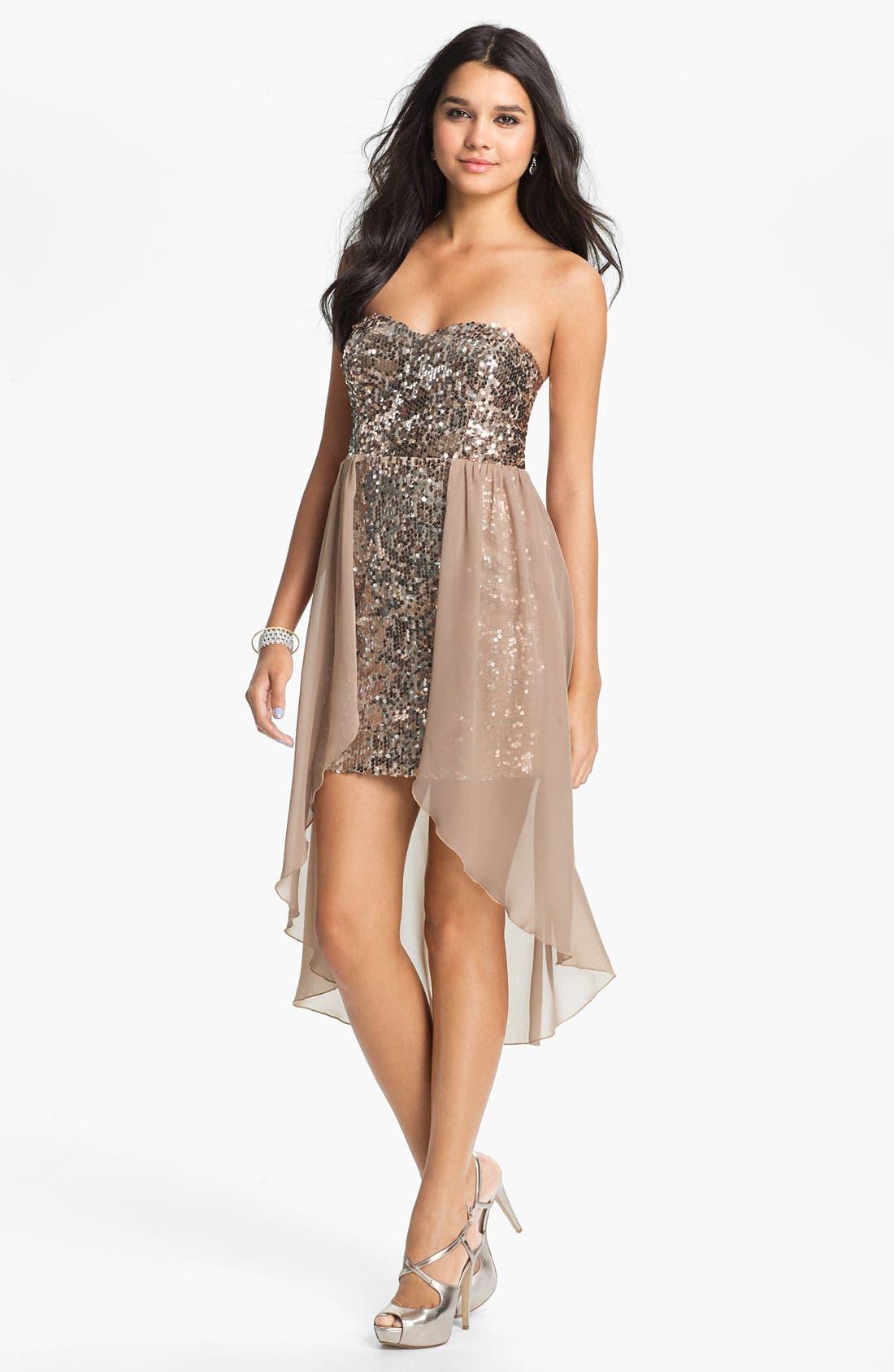 Main Image - Way-In Sequin Chiffon Overlay Dress (Juniors)
