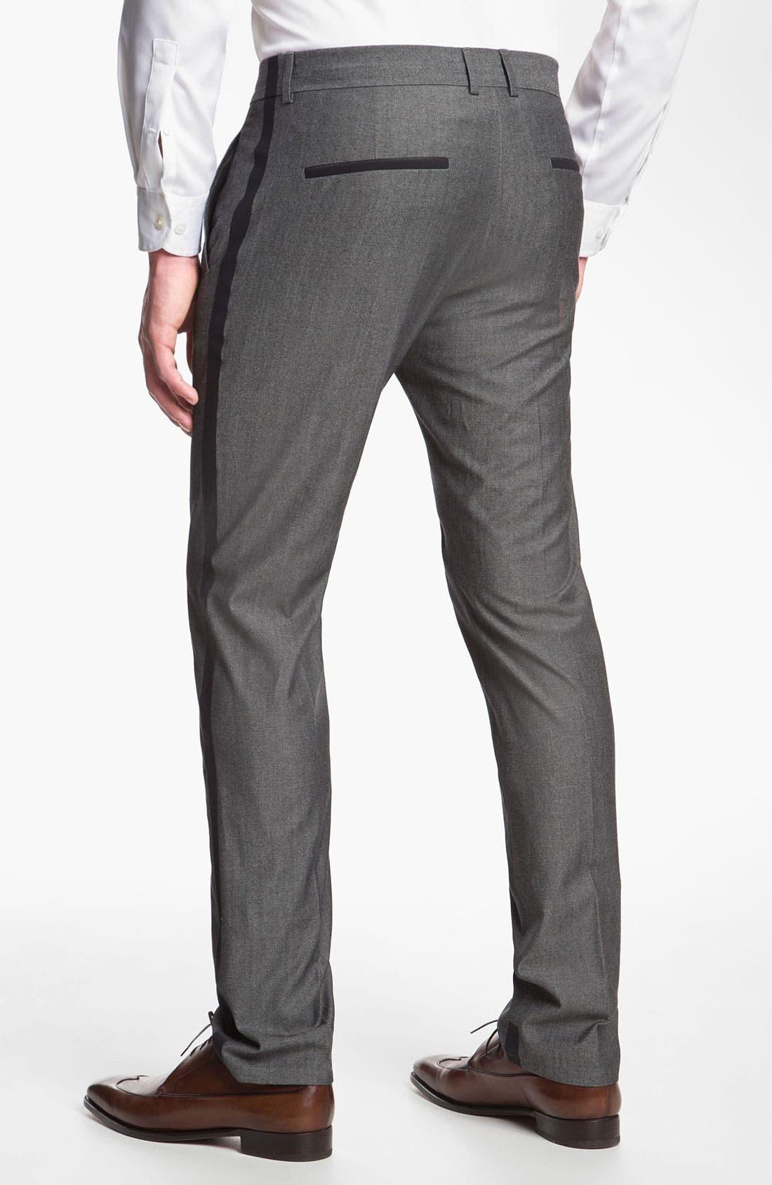 Alternate Image 2  - HUGO 'Helbos' Flat Front Wool Blend Tuxedo Pants