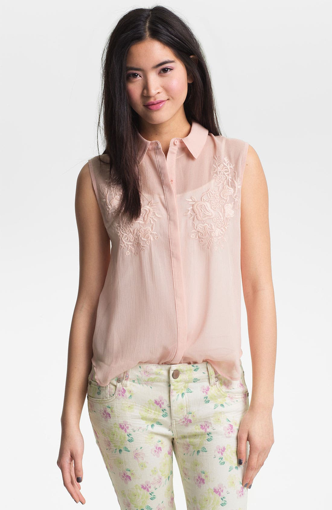 Alternate Image 1 Selected - Lush Embroidered Sheer Sleeveless Shirt (Juniors)