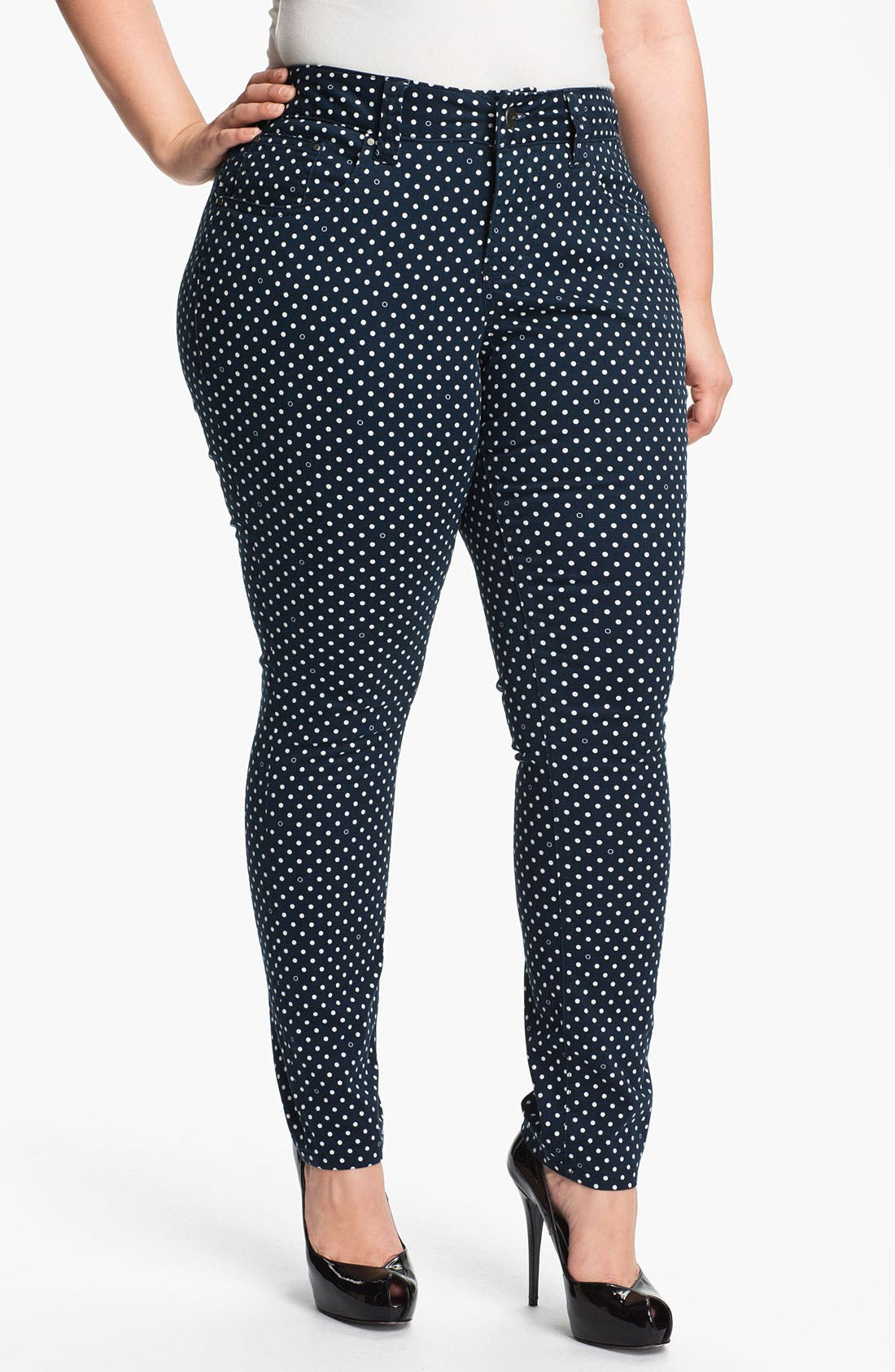 Alternate Image 1 Selected - Jag Jeans Polka Dot Slim Ankle Jeans (Plus Size)