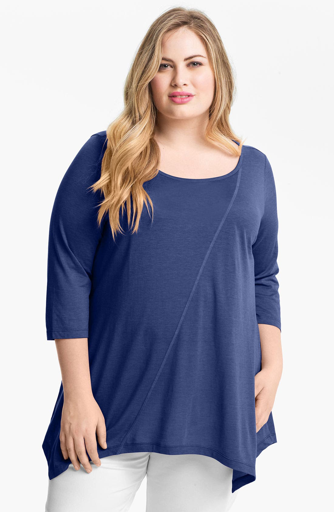 Main Image - Eileen Fisher Ballet Neck Top (Plus Size)