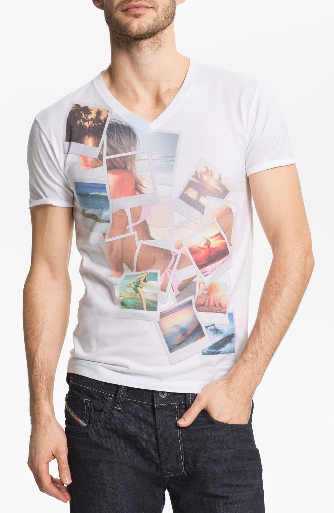 Alternate Image 1 Selected - Bowery Supply 'Polaroid Girl' Graphic V-Neck T-Shirt