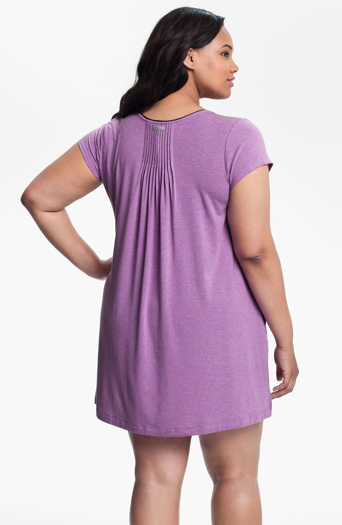 Alternate Image 2  - DKNY '7 Easy Pieces' Pintuck Short Sleeve Nightshirt (Plus Size)