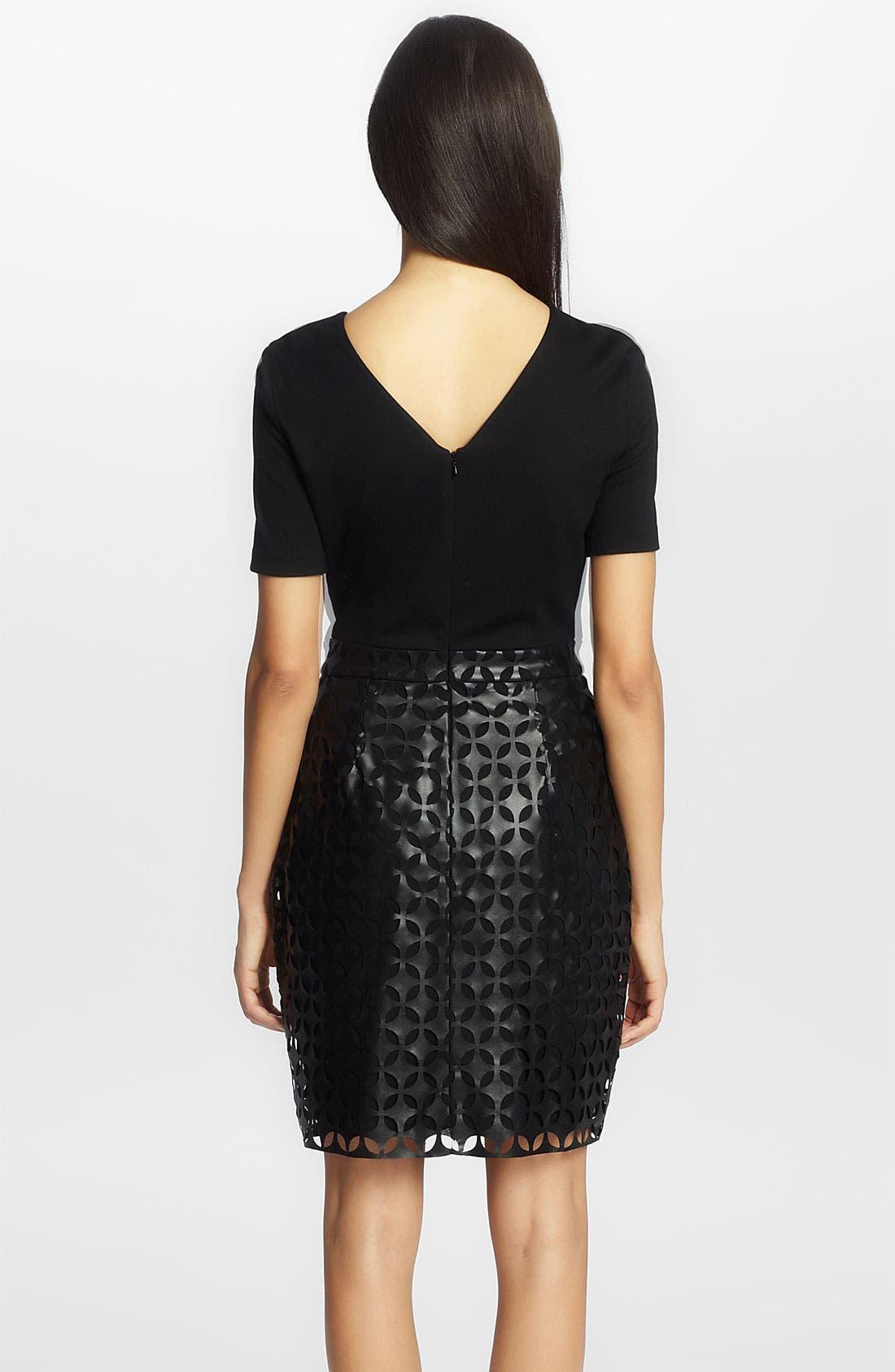 Alternate Image 2  - Cynthia Steffe 'Amelia' Laser Cut Leather Dress