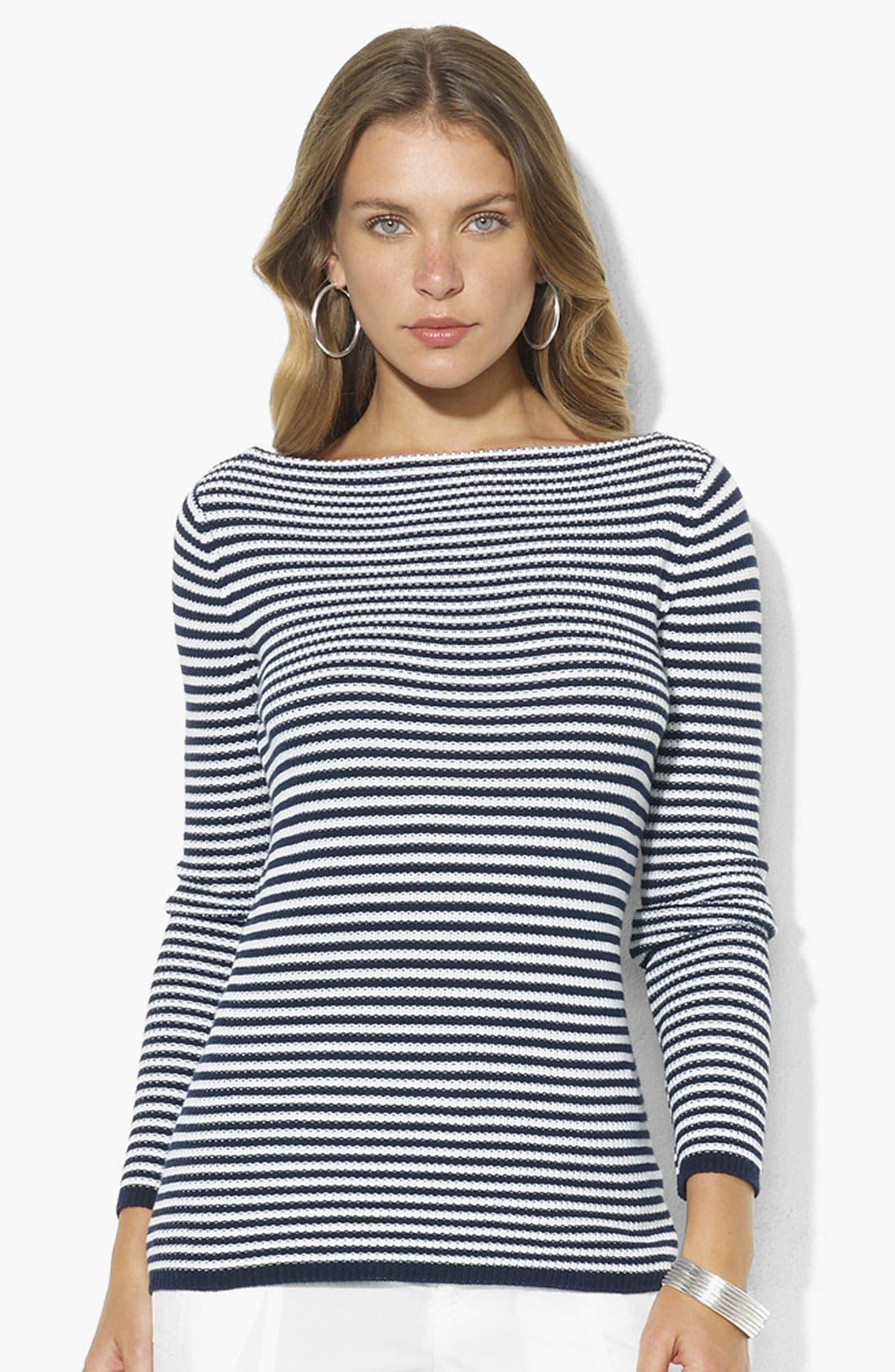 Main Image - Lauren Ralph Lauren Stripe Bateau Neck Sweater