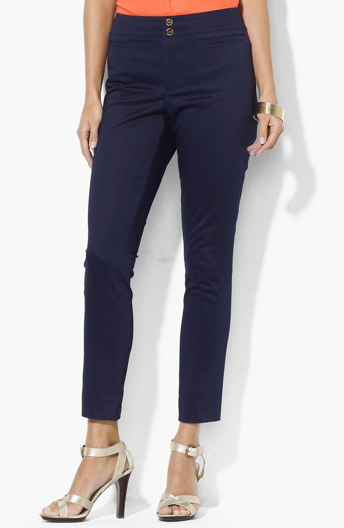Alternate Image 1 Selected - Lauren Ralph Lauren Slim Stretch Cotton Pants (Petite) (Online Exclusive)