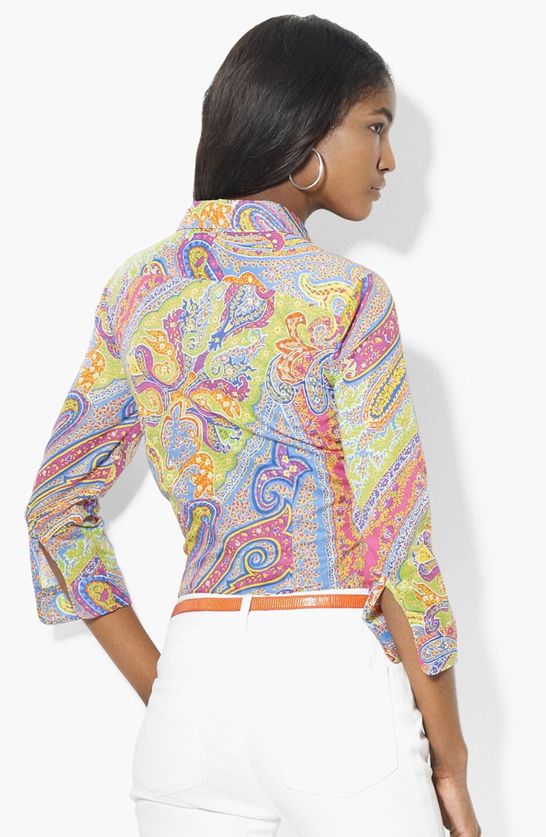 Alternate Image 2  - Lauren Ralph Lauren Three Quarter Sleeve Shirt (Petite) (Online Exclusive)