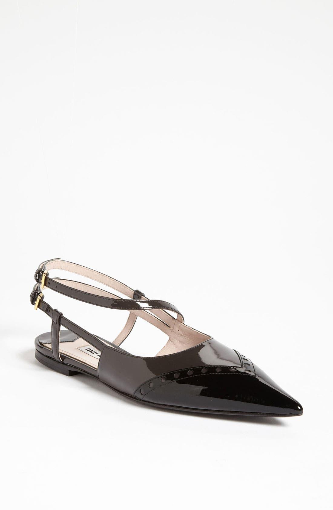 Main Image - Miu Miu Pointed Toe Ballet Flat (Nordstrom Exclusive)