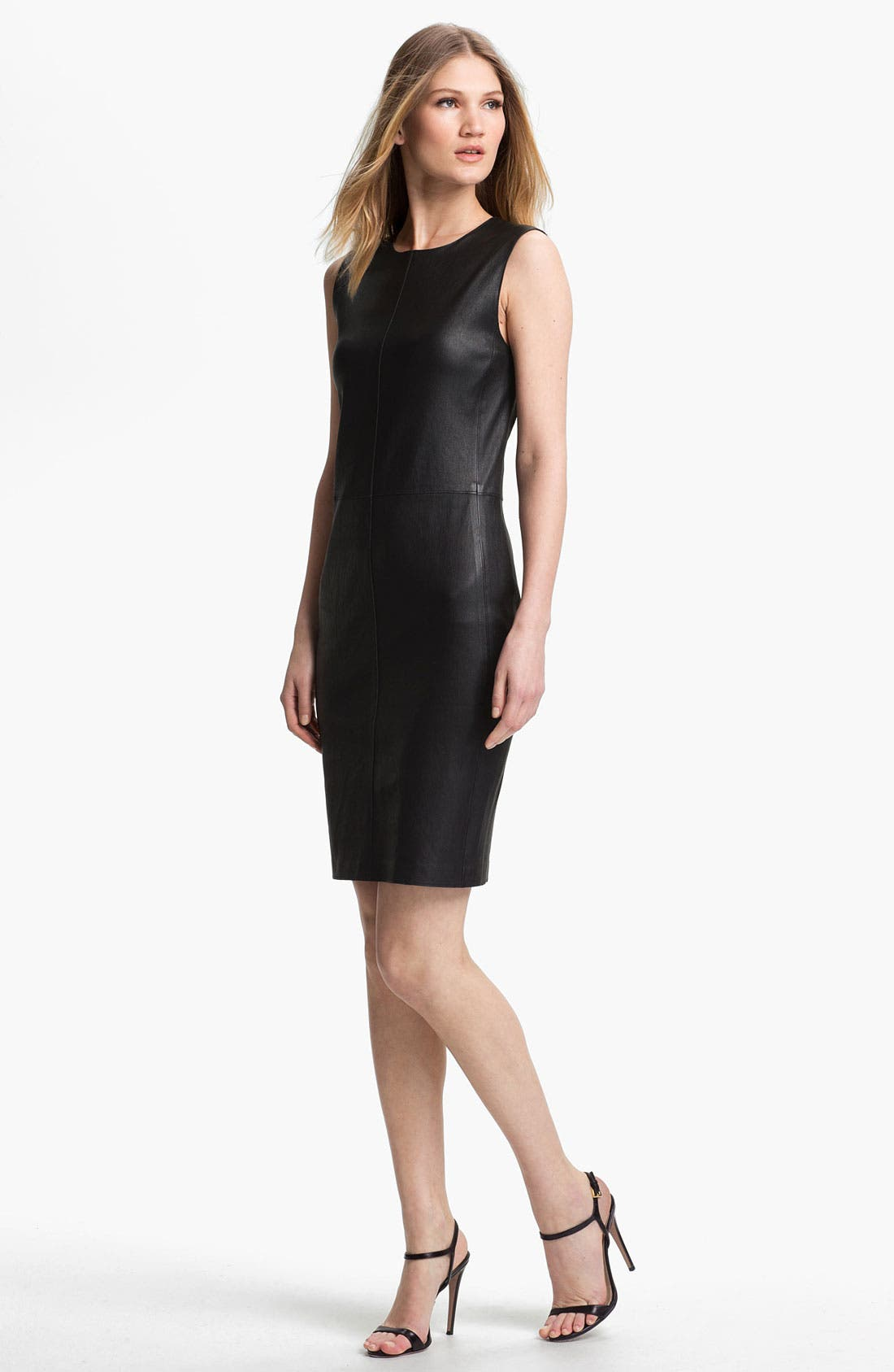 Alternate Image 1 Selected - Vince Stretch Leather Dress
