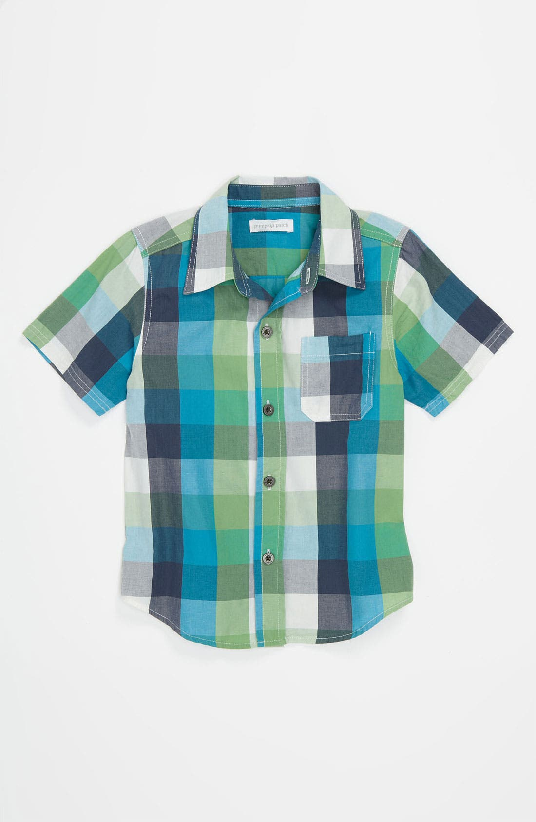 Main Image - Pumpkin Patch Plaid Shirt (Infant)