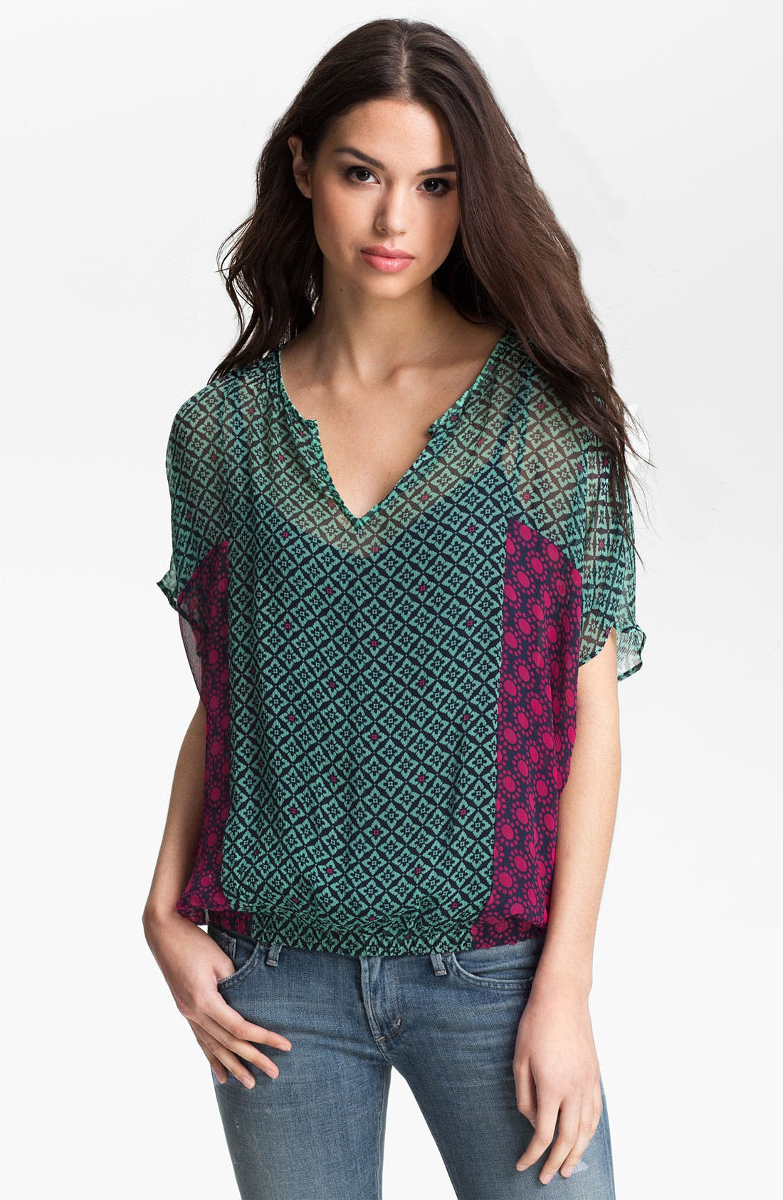 Alternate Image 1 Selected - Ella Moss 'Sun Tile' Mix Print Top
