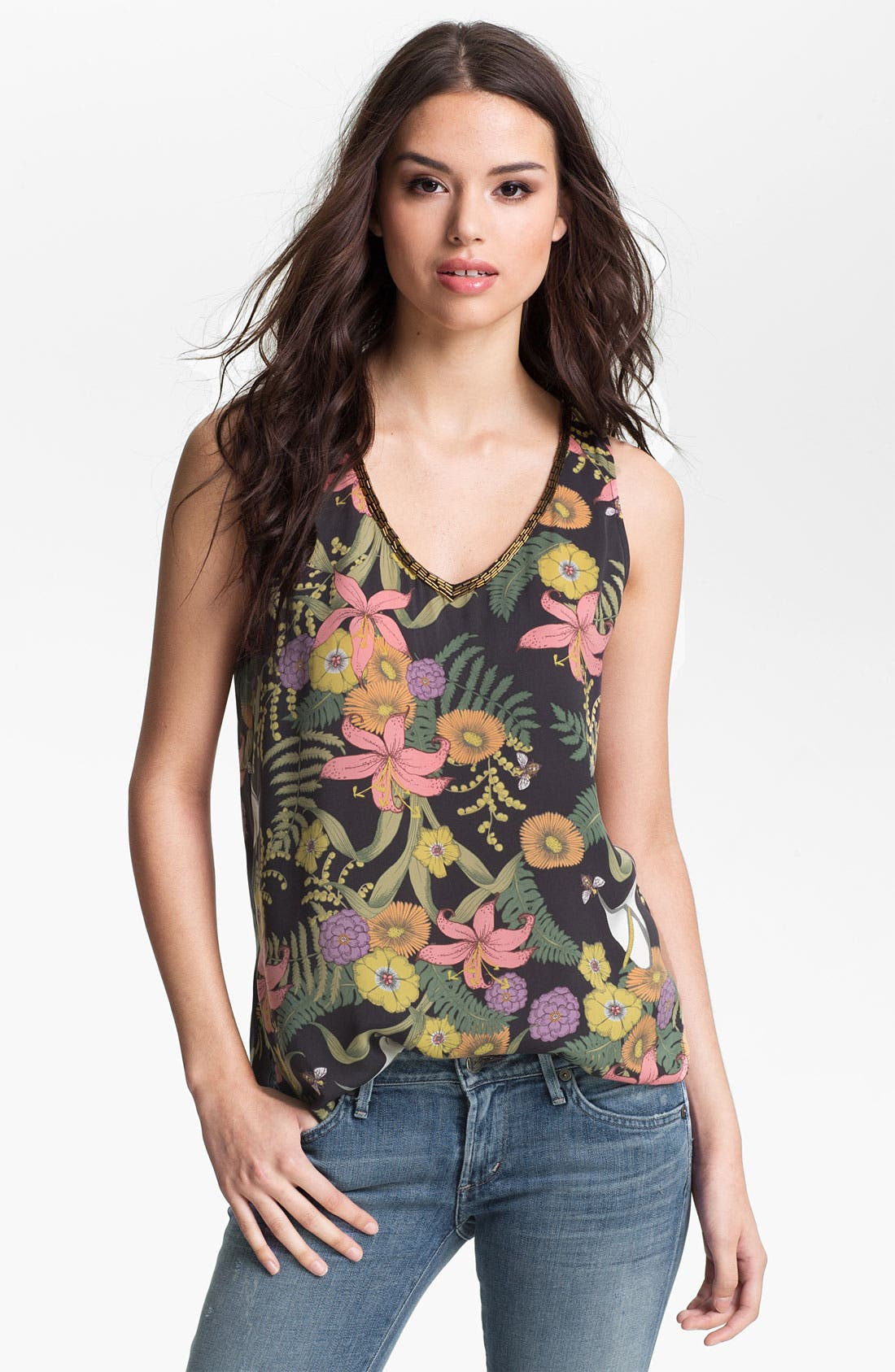 Main Image - Collective Concepts Bead Trim Floral Print Tank