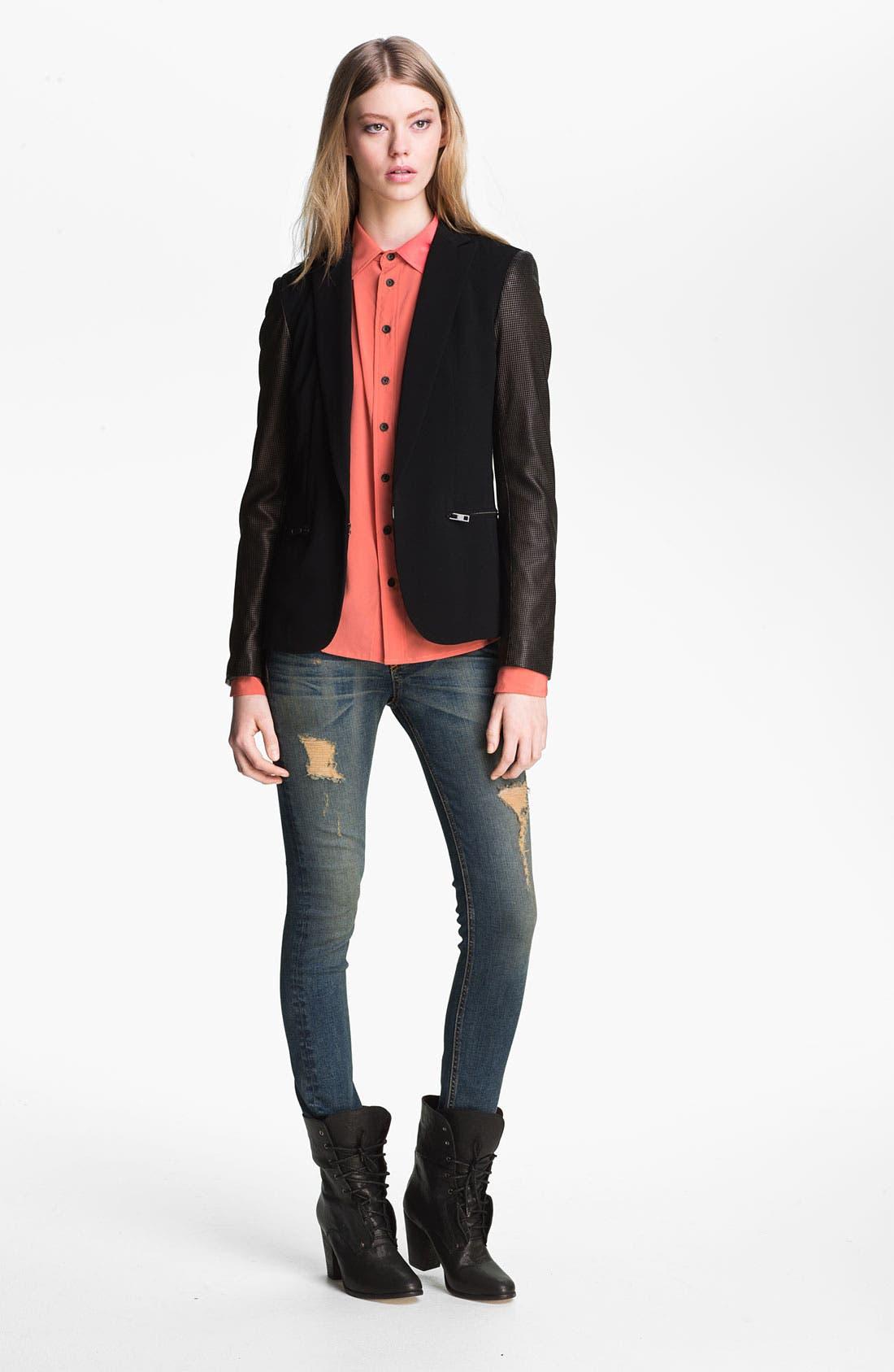 Main Image - rag & bone Leather Sleeve Moto Blazer