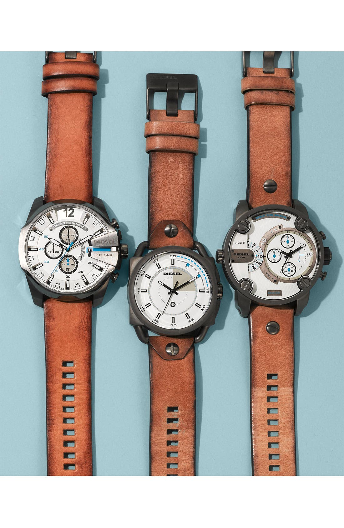Alternate Image 5  - DIESEL® 'Descender' Leather Strap Watch, 50mm
