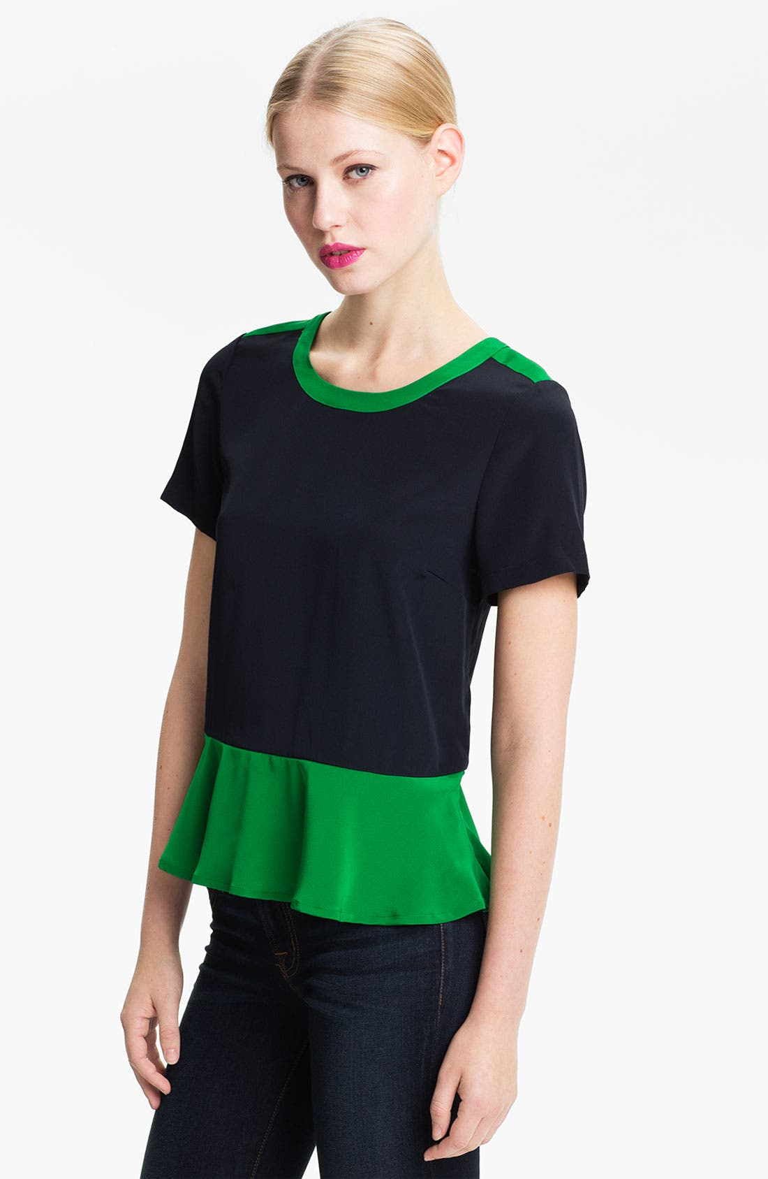Main Image - MARC BY MARC JACOBS 'Avery' Colorblock Silk Peplum Top