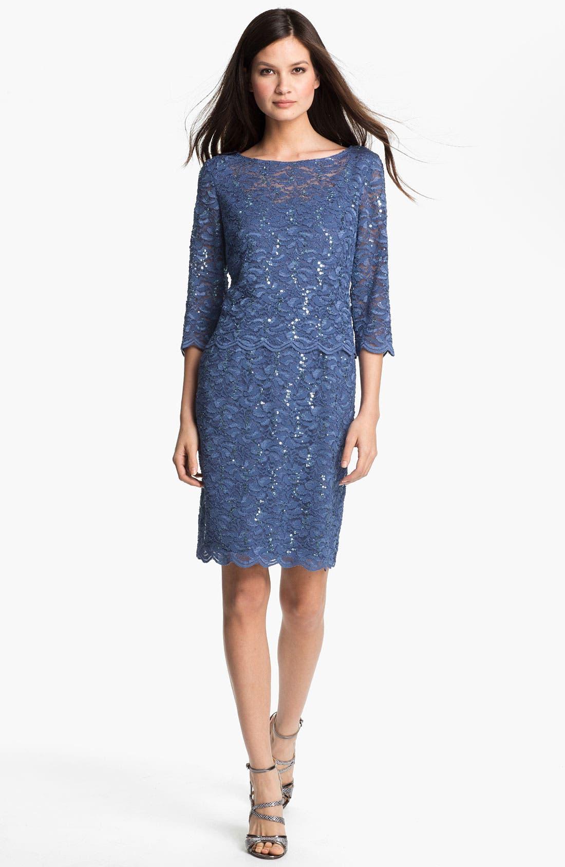 Alternate Image 3  - Alex Evenings Shimmering Lace Sheath Dress