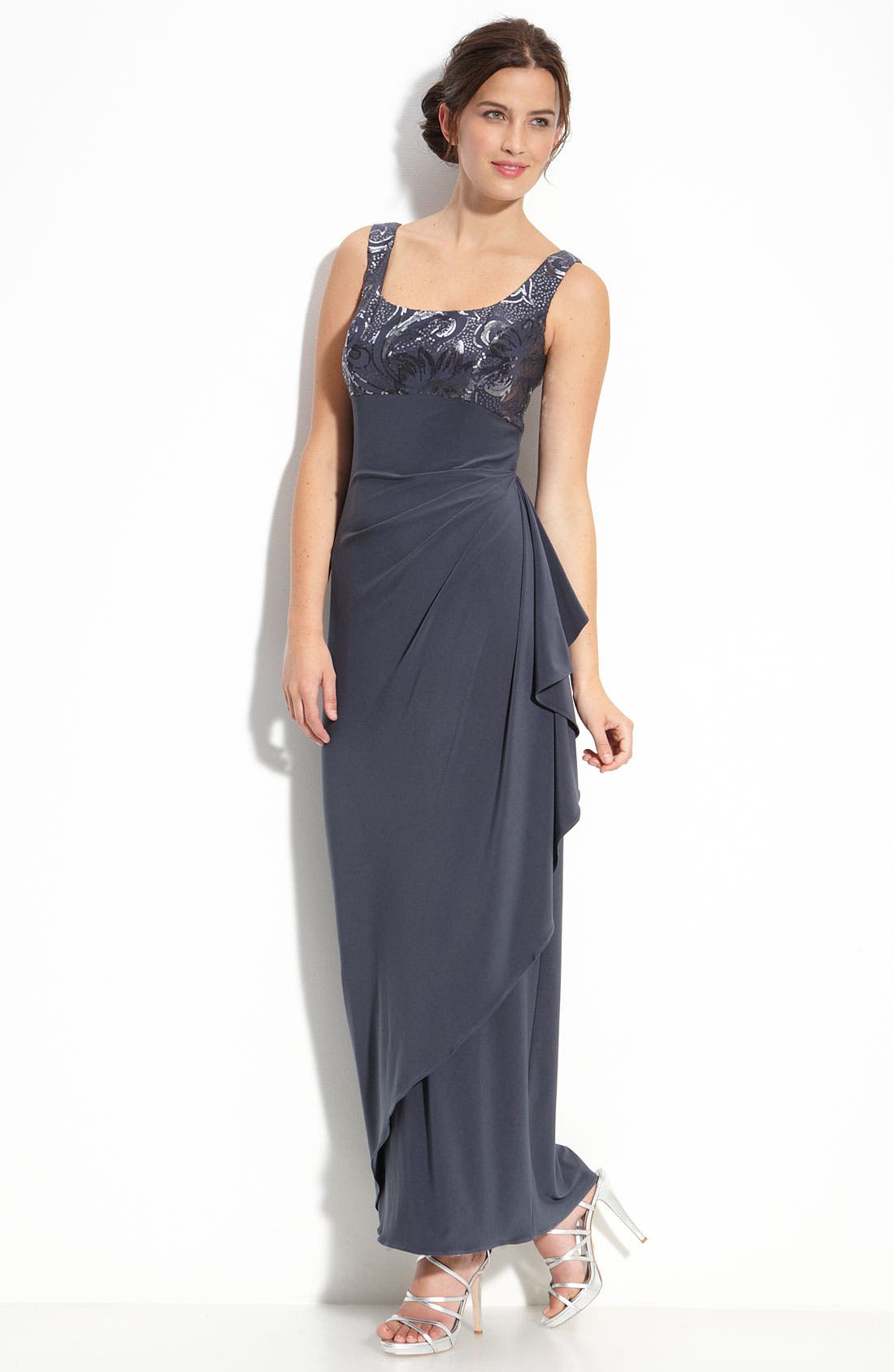Alternate Image 2  - Alex Evenings Sequin Jersey Gown & Bolero (Petite)
